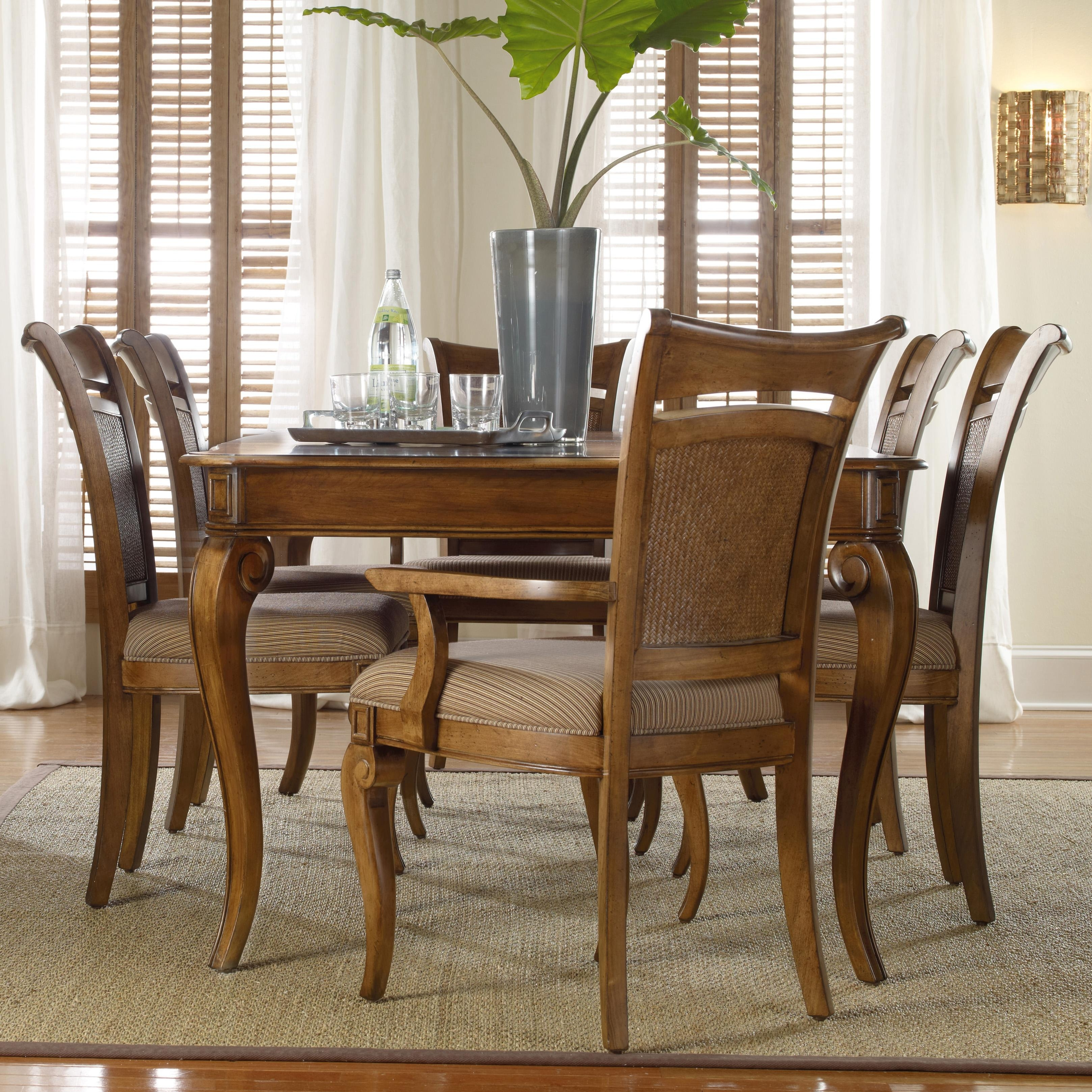 Hooker Furniture Windward Rectangular Leg Dining Table & Raffia With Most Recent Norwood 6 Piece Rectangular Extension Dining Sets With Upholstered Side Chairs (Image 6 of 20)