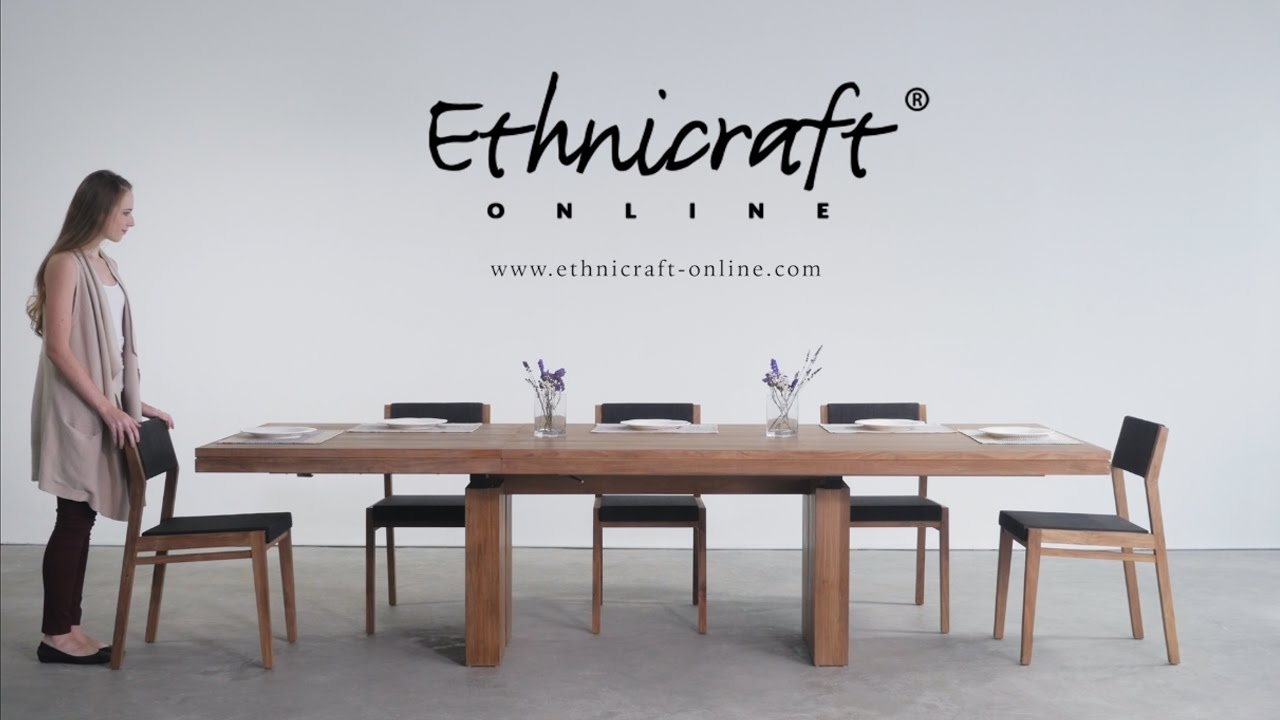 How To Open The Double Extendable Dining Table – Youtube Intended For Current Caira Extension Pedestal Dining Tables (Image 12 of 20)