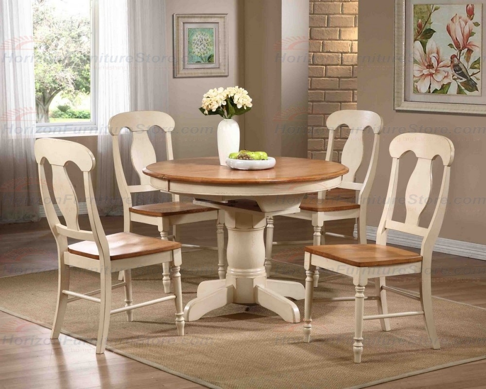 Iconic Furniture 5 Piece Round Single Pedestal Table Set With Regarding Most Recently Released Craftsman 5 Piece Round Dining Sets With Side Chairs (Image 13 of 20)