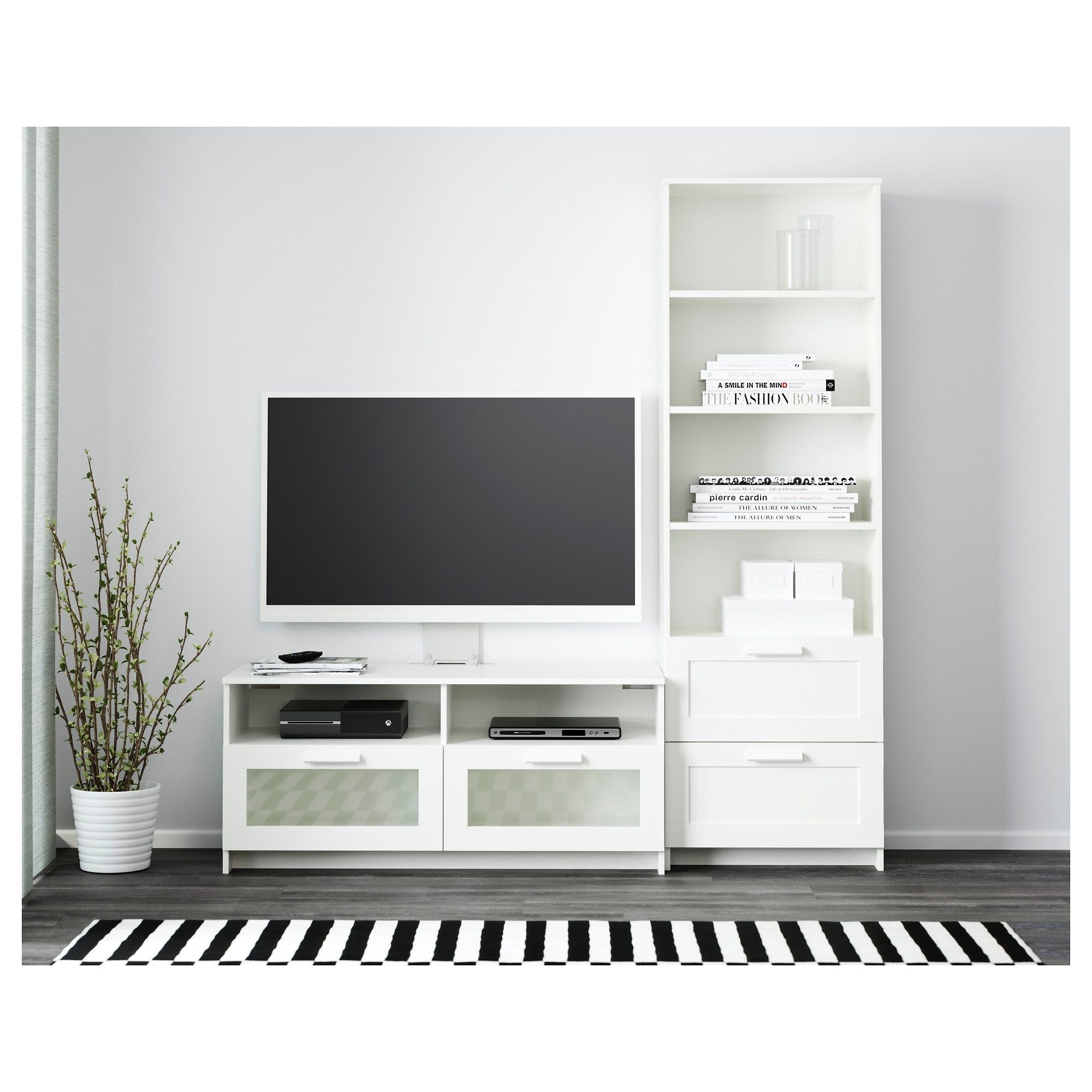 Ikea – Brimnes Tv Storage Combination White In 2018 | ชั้นวางทีวี In 2017 Combs 5 Piece 48 Inch Extension Dining Sets With Pearson White Chairs (Image 11 of 20)