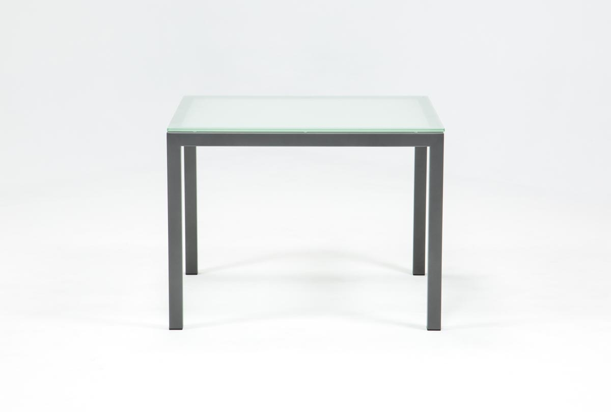 Ina Pewter 40 Inch Square Dining Table W/frosted Glass | Living Spaces With Recent Ina Matte Black 60 Inch Counter Tables With Frosted Glass (View 3 of 20)