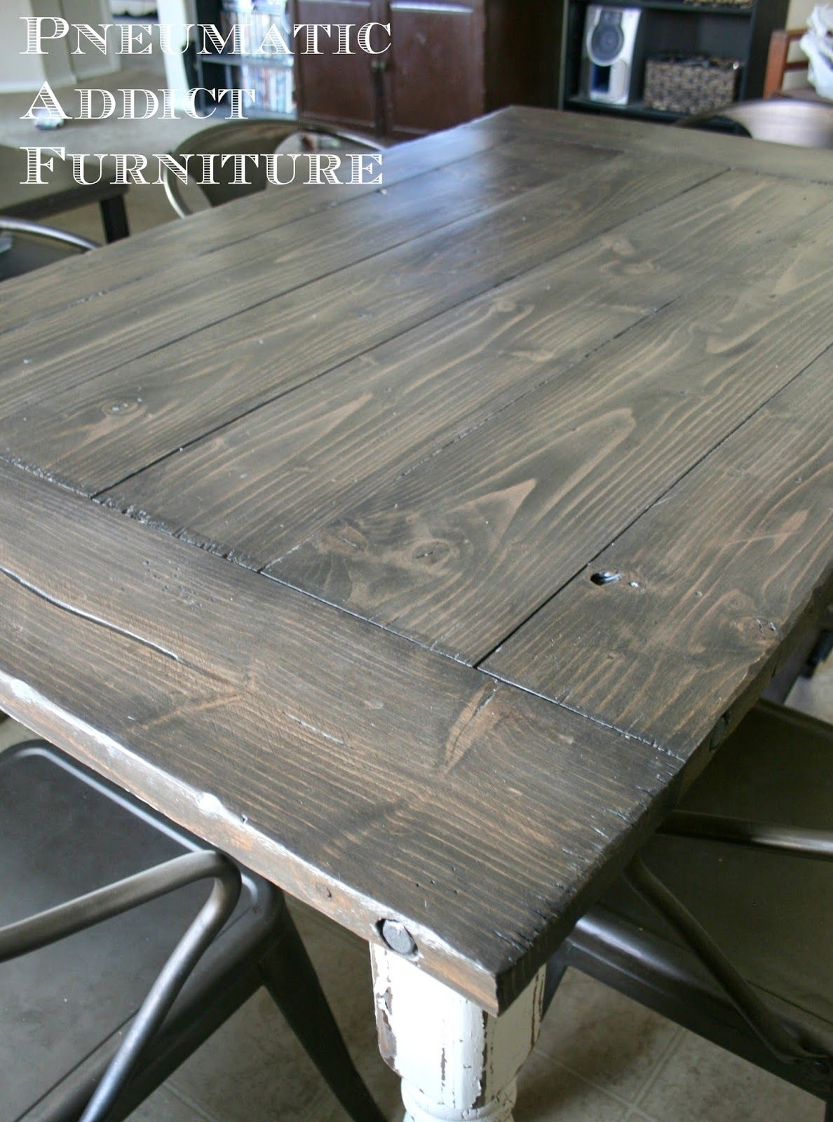 Industrial Farmhouse Table | Diy | Pinterest | Farmhouse Table With Regard To 2018 Washed Old Oak & Waxed Black Legs Bar Tables (View 9 of 20)