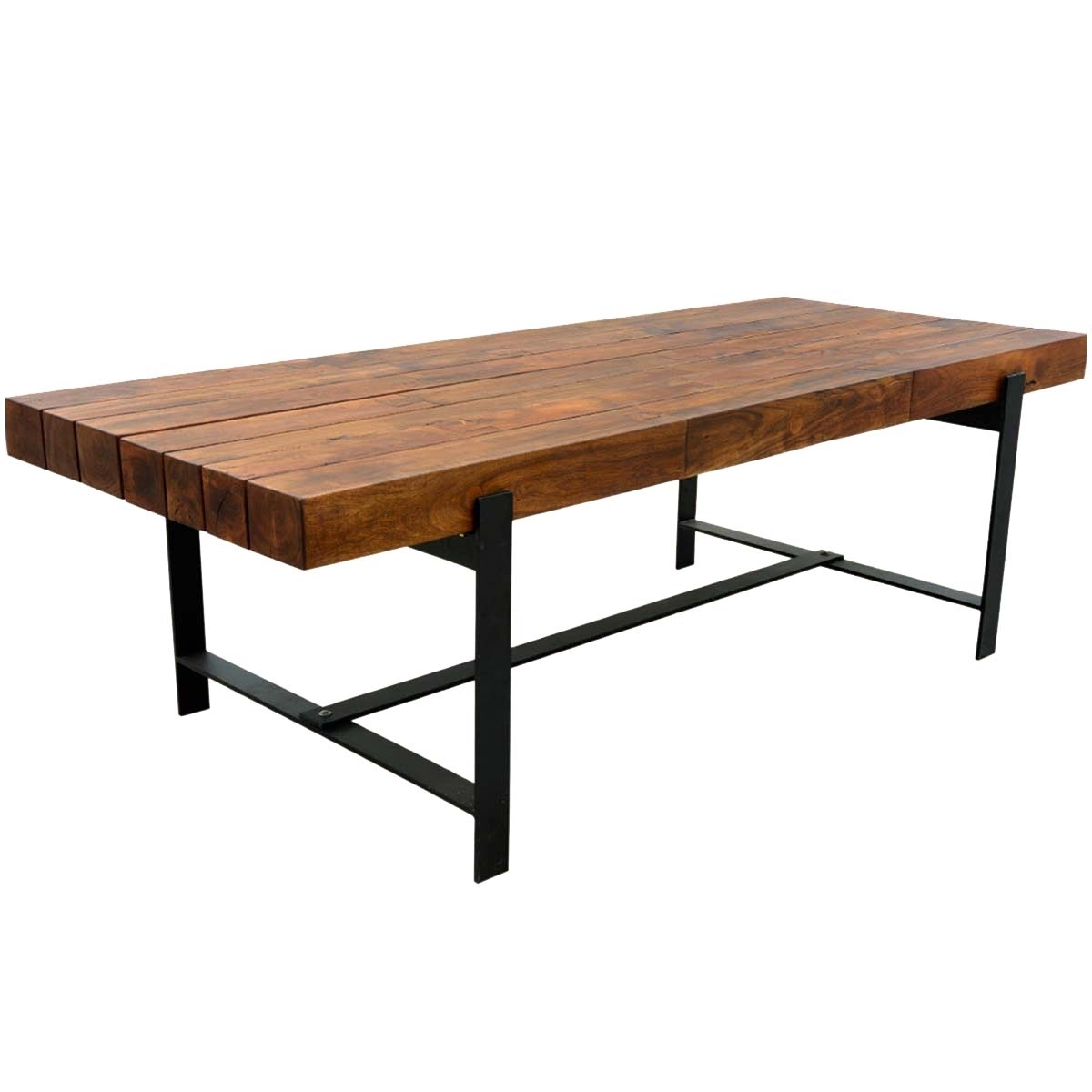 "Industrial Iron & Acacia Wood 94"" Large Rustic Dining Table Throughout Recent Iron And Wood Dining Tables (View 8 of 20)"