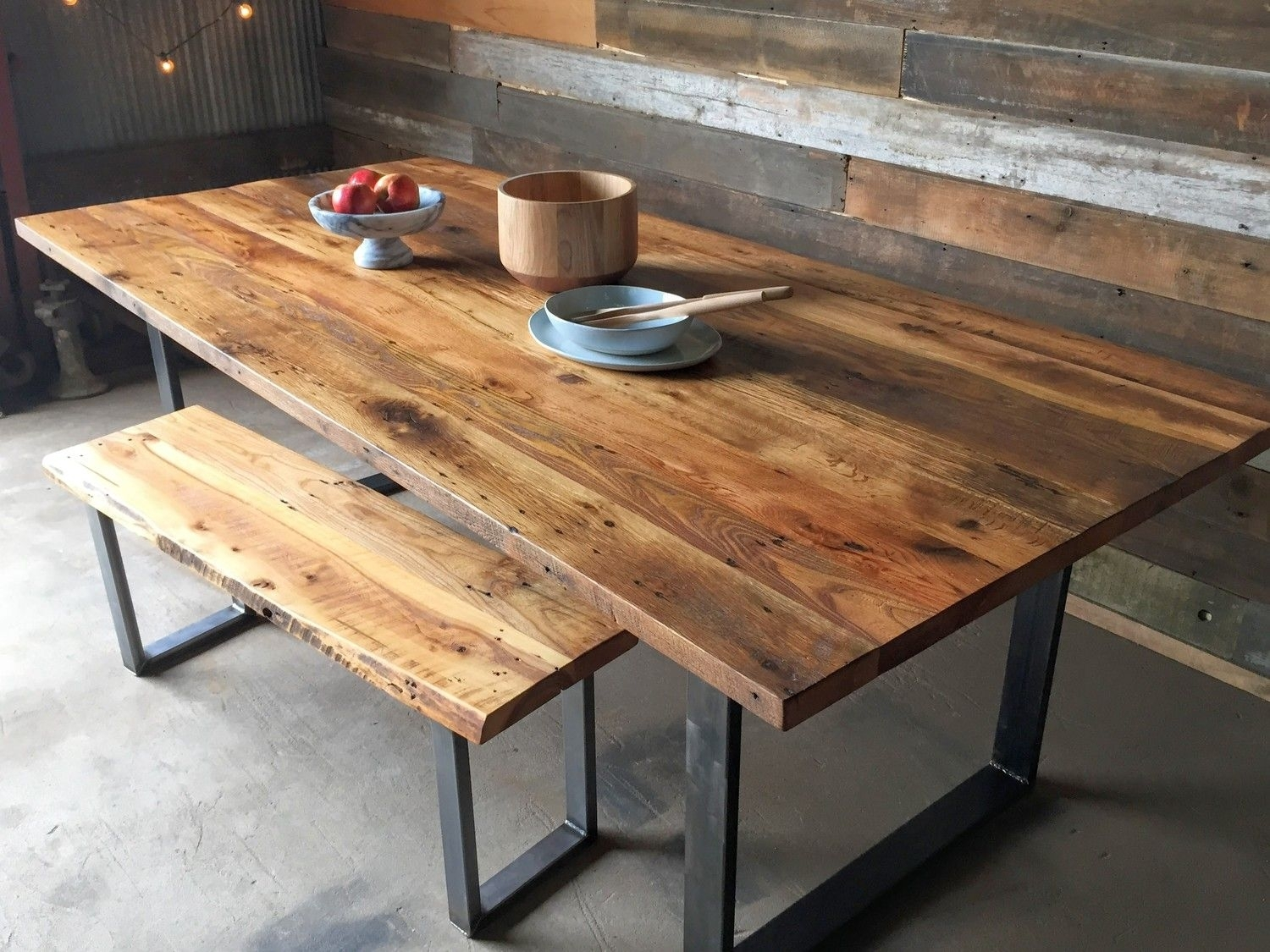 Industrial Modern Dining Table / U Shaped Metal Legs | Decor Throughout Latest Iron And Wood Dining Tables (View 3 of 20)