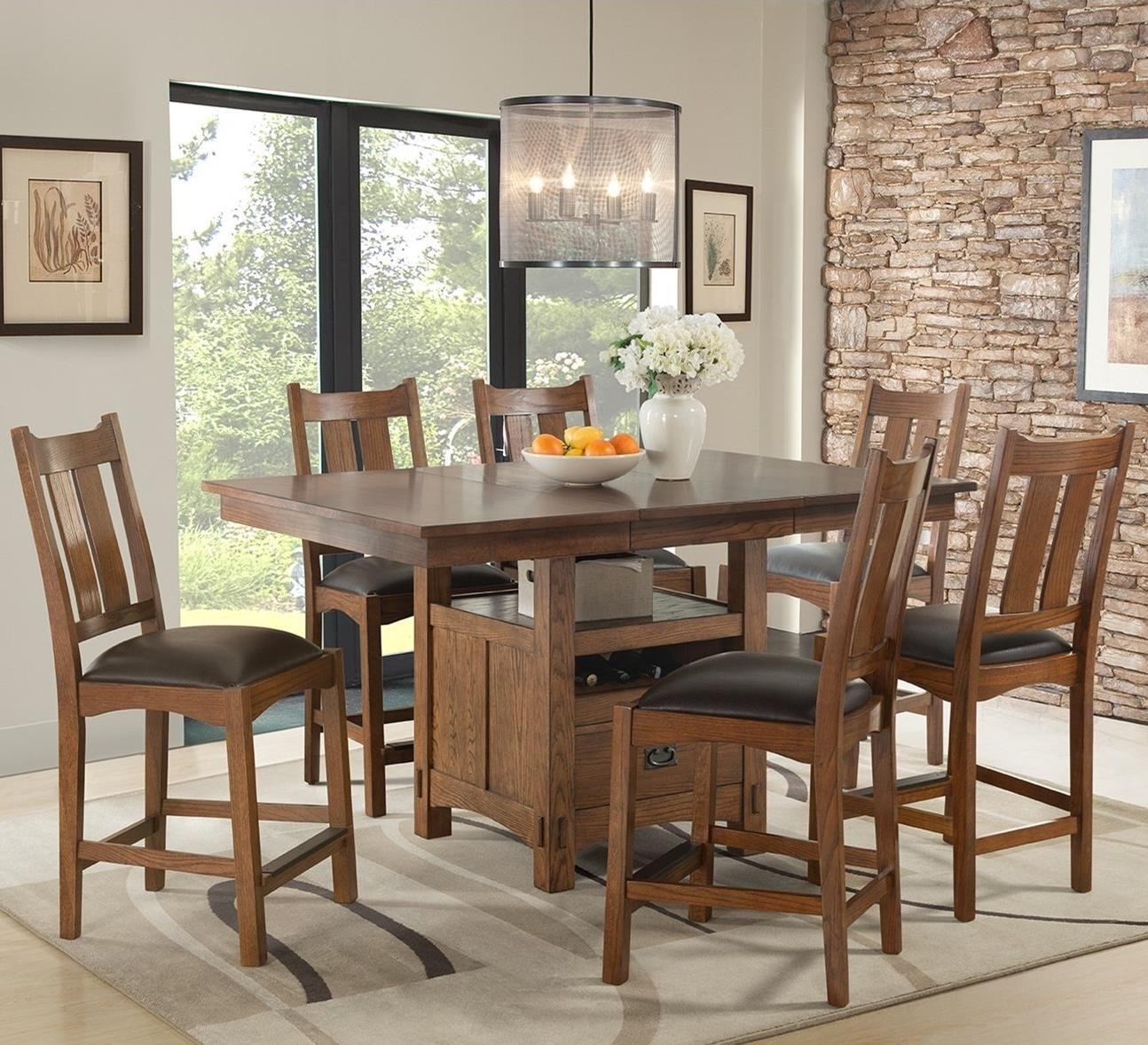 Intercon Oak Park 7 Piece Counter Height Table And Chair Dining Set Throughout Best And Newest Craftsman 7 Piece Rectangle Extension Dining Sets With Uph Side Chairs (Image 13 of 20)