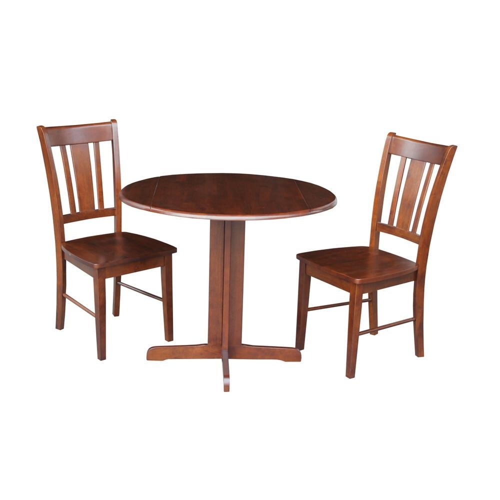 International Concepts 3 Piece Cinnamon And Espresso Dining Set K581 Inside Most Current Craftsman 5 Piece Round Dining Sets With Uph Side Chairs (Image 9 of 20)