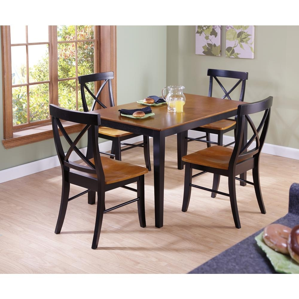 International Concepts Dining Essentials 5 Piece Black And Cherry Inside Current Craftsman 5 Piece Round Dining Sets With Uph Side Chairs (Photo 1 of 20)