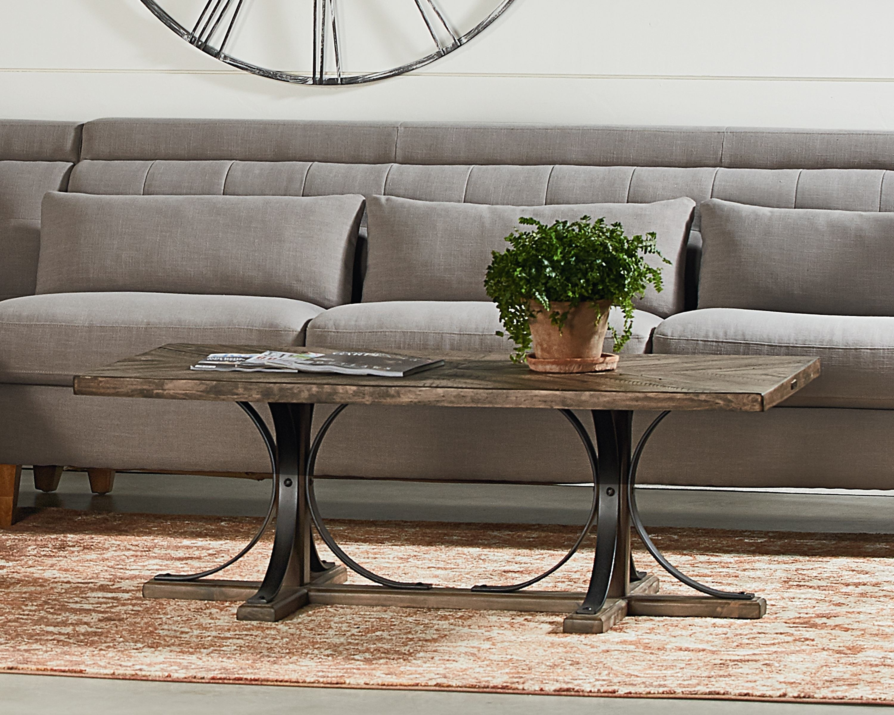 Iron Trestle Coffee Table – Magnolia Home For Most Current Magnolia Home Shop Floor Dining Tables With Iron Trestle (Image 5 of 20)