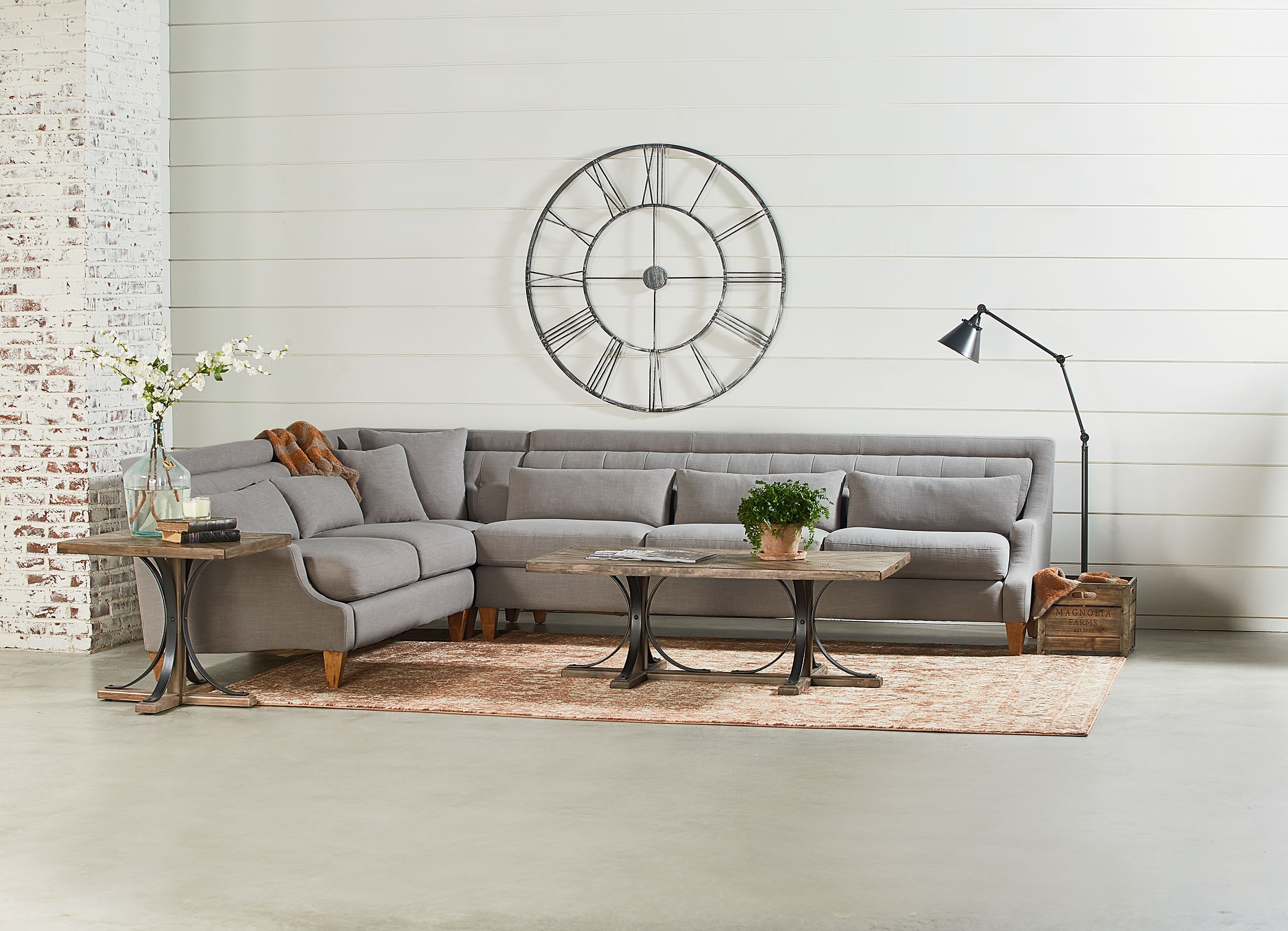 Iron Trestle Coffee Table – Magnolia Home In Current Magnolia Home Shop Floor Dining Tables With Iron Trestle (Image 6 of 20)