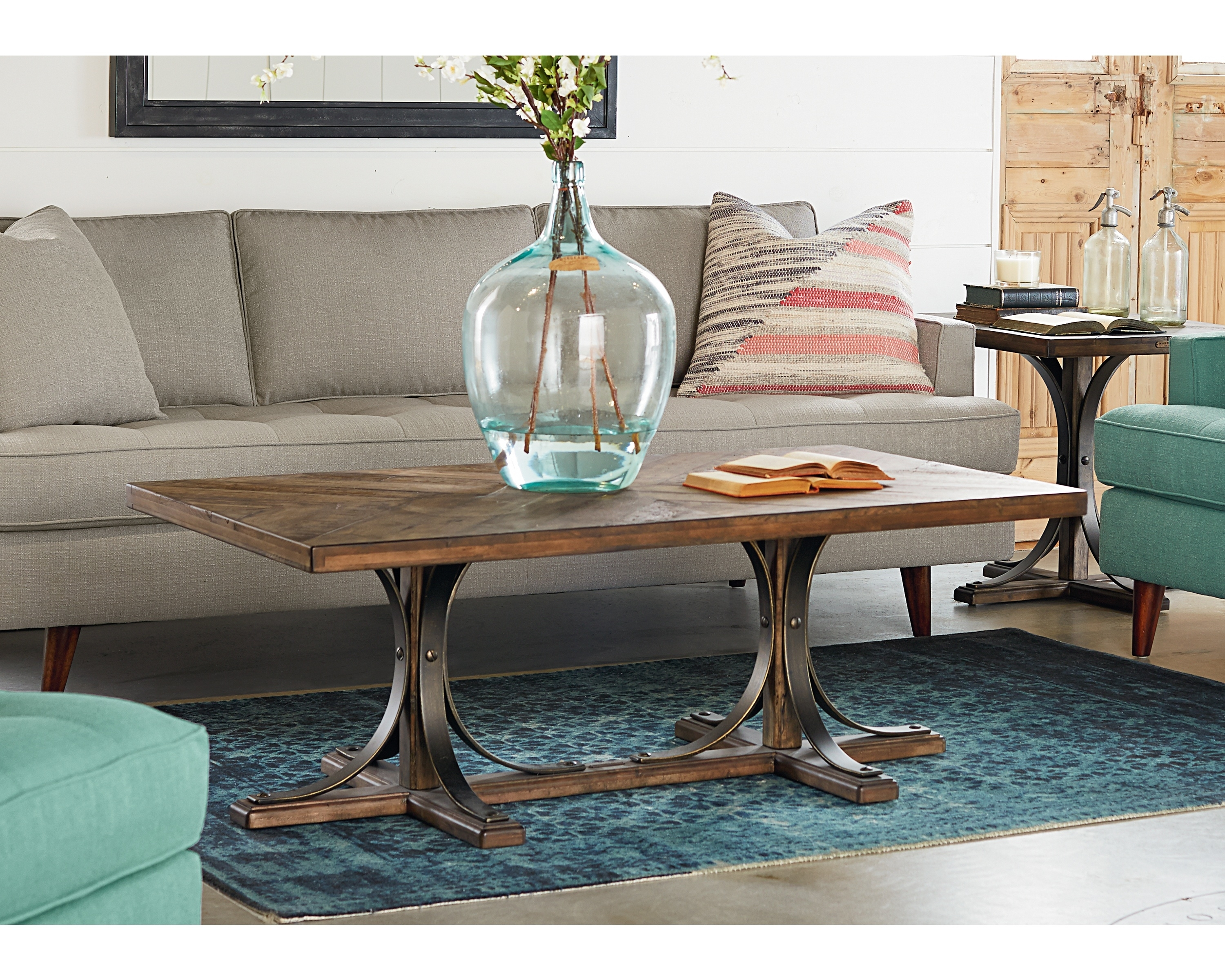 Iron Trestle Coffee Table – Magnolia Home Intended For Most Popular Magnolia Home Shop Floor Dining Tables With Iron Trestle (Photo 14 of 20)