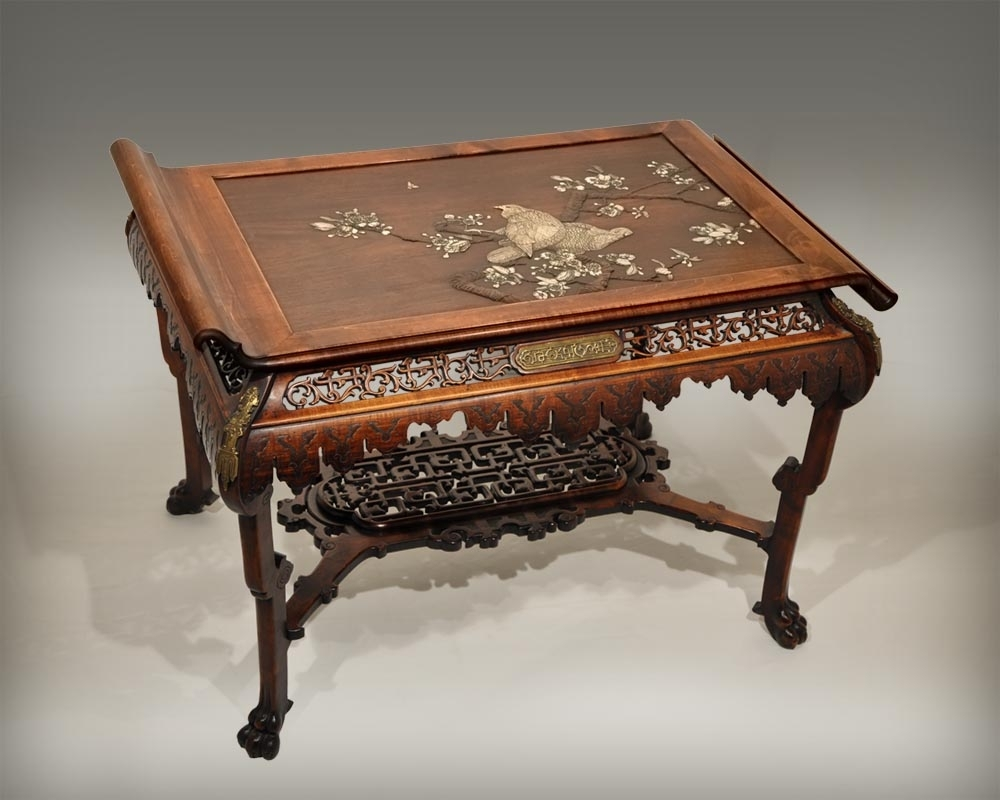 Japanese Style Table With Partridge – Gueridons, Stands, Pedestals Pertaining To 2017 Partridge Dining Tables (Image 3 of 20)