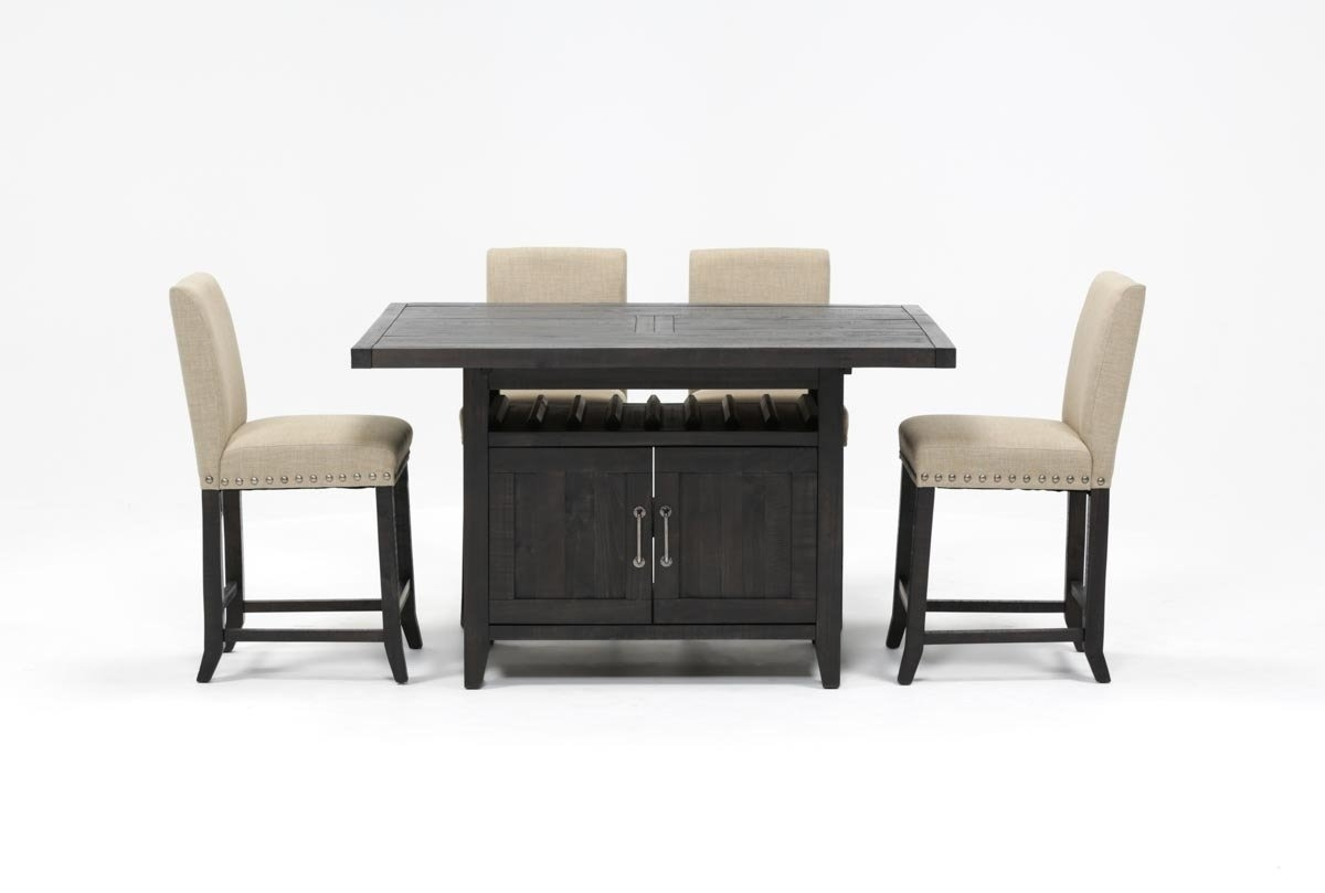 Jaxon 5 Piece Extension Counter Set W/fabric Stools | Living Spaces Inside Most Recently Released Jaxon Grey 5 Piece Extension Counter Sets With Wood Stools (Image 7 of 20)