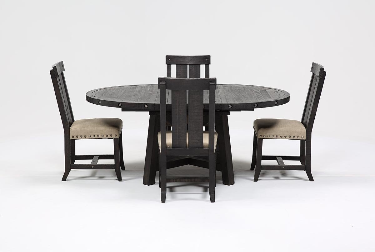 Jaxon 5 Piece Extension Round Dining Set W/wood Chairs | Living Spaces With Regard To Most Up To Date Jaxon 5 Piece Extension Round Dining Sets With Wood Chairs (Image 8 of 20)