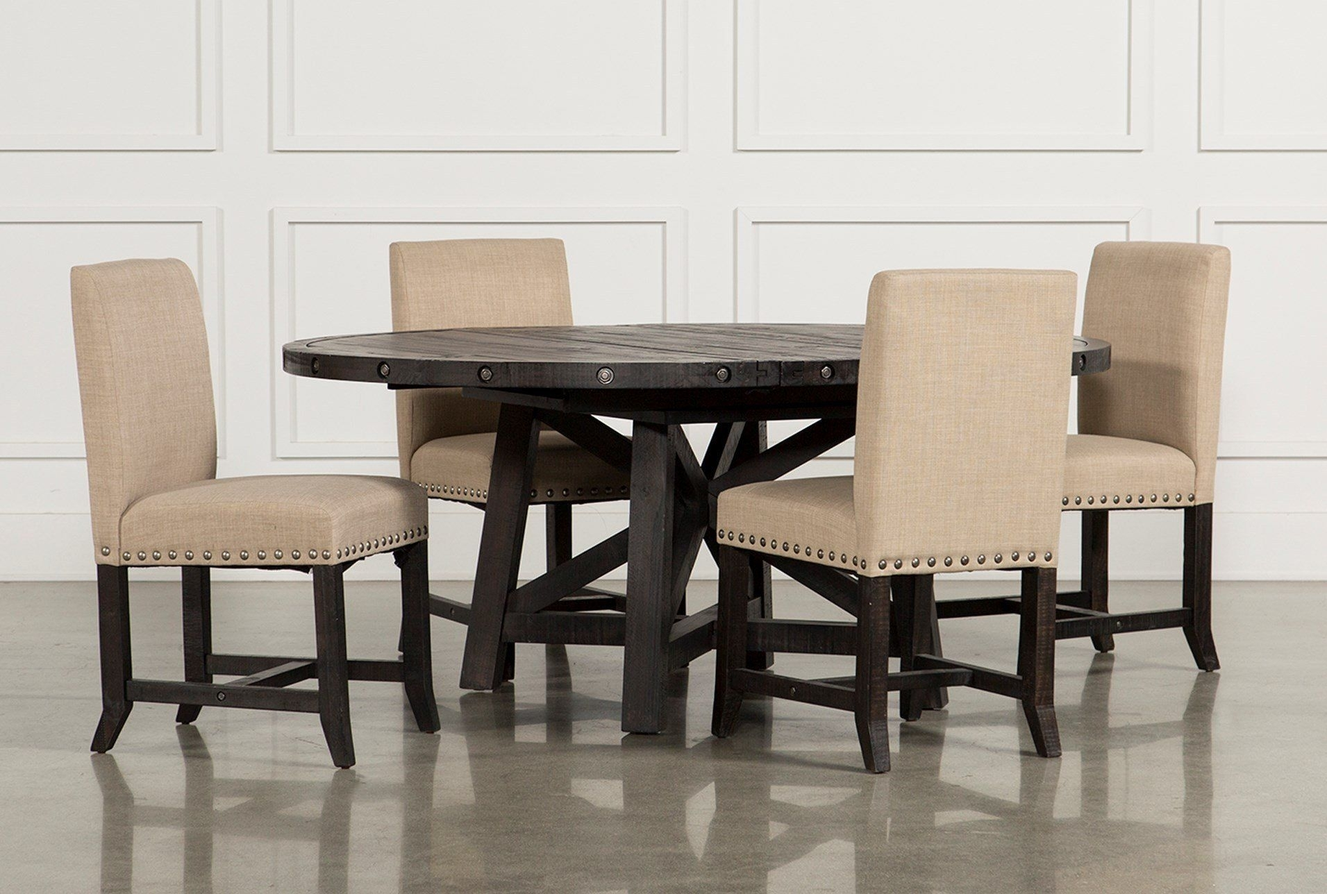 Jaxon 5 Piece Round Dining Set W/upholstered Chairs | Cool Inside Latest Helms Round Dining Tables (Photo 7 of 20)