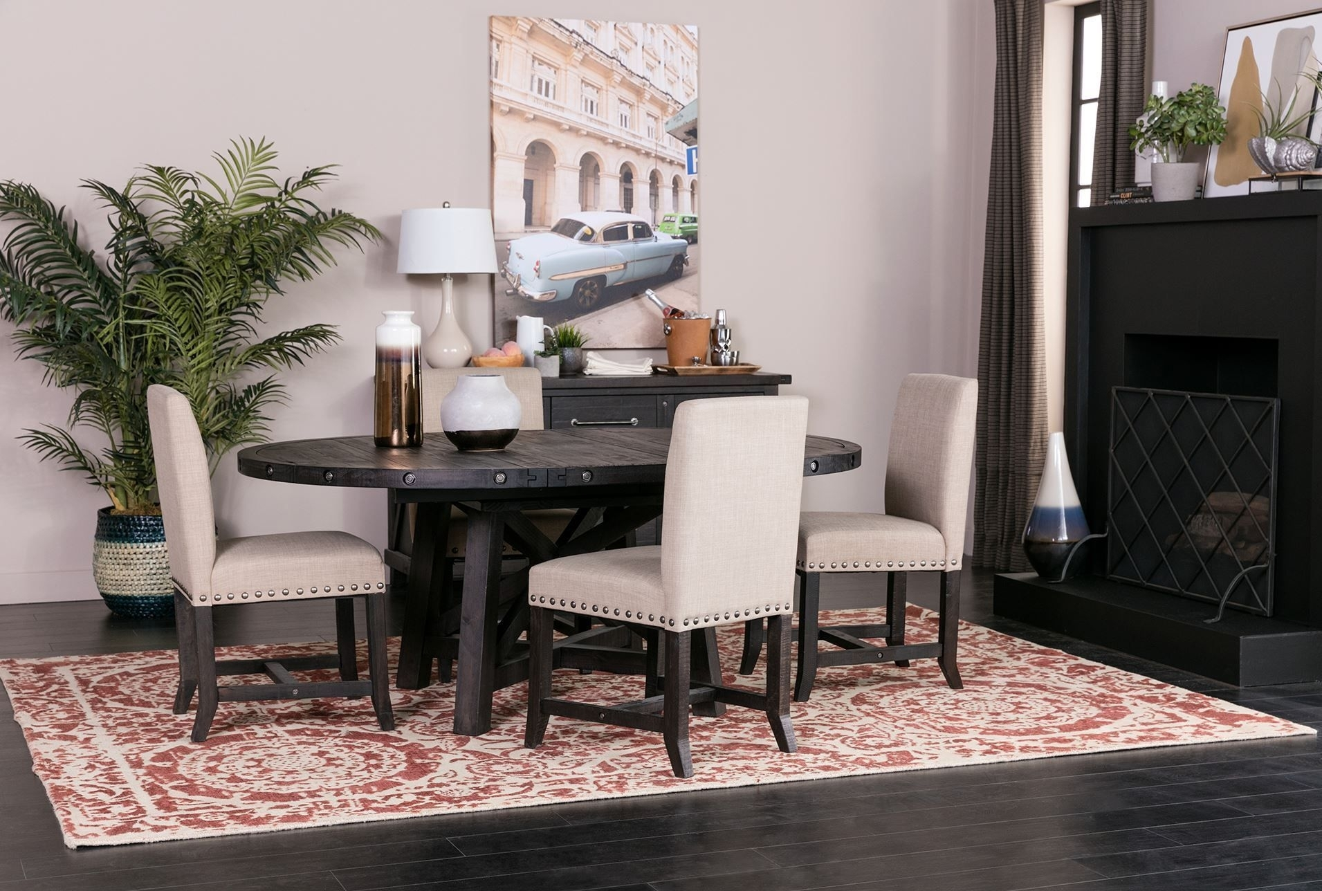 Jaxon 5 Piece Round Dining Set W/upholstered Chairs | Round Dining Inside Most Recently Released Jaxon 5 Piece Round Dining Sets With Upholstered Chairs (Image 10 of 20)