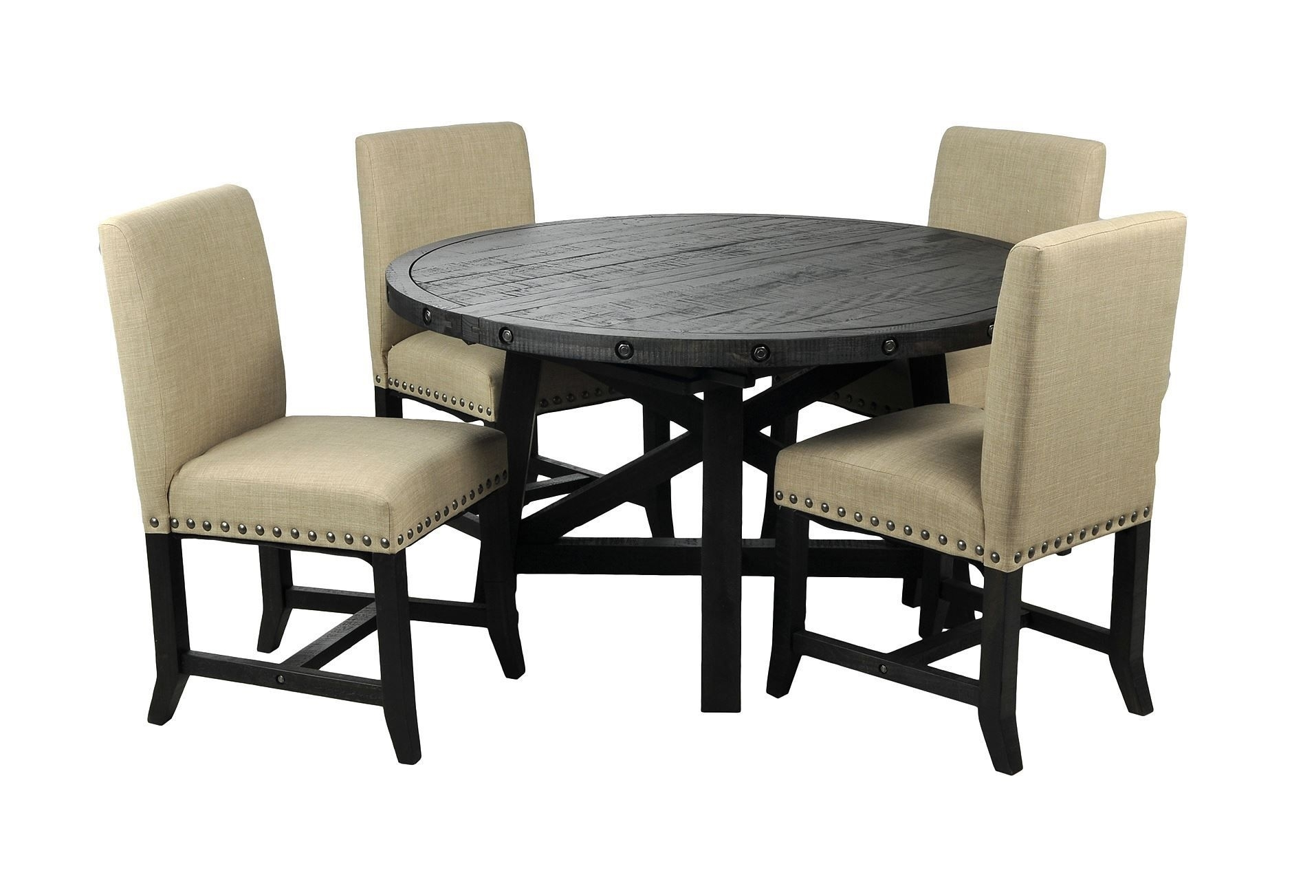 Jaxon 5 Piece Round Dining Set W/upholstered Chairs | Round Table Throughout Best And Newest Jaxon Grey 5 Piece Round Extension Dining Sets With Wood Chairs (Image 11 of 20)