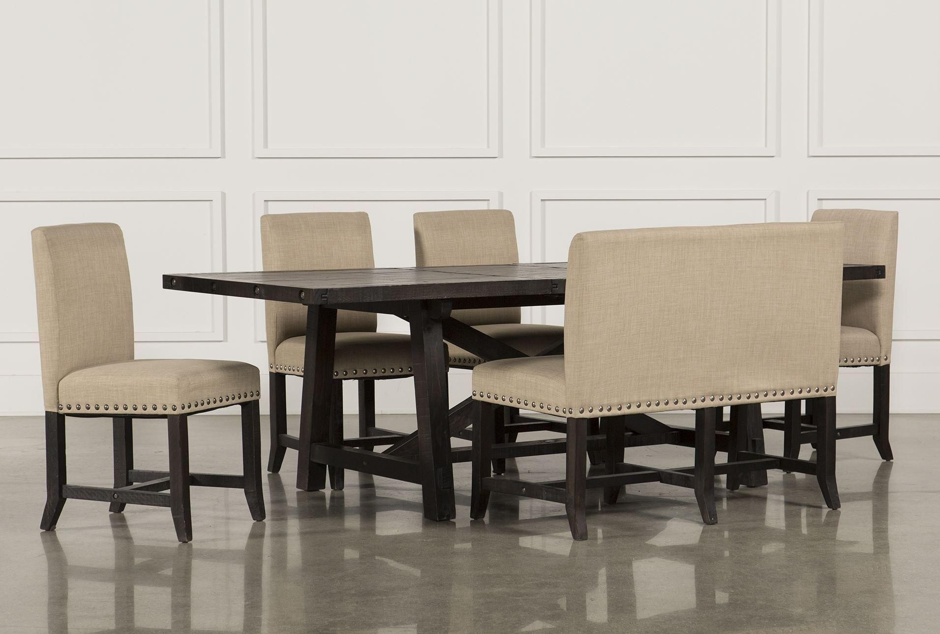 Featured Image of Jaxon Grey 6 Piece Rectangle Extension Dining Sets With Bench & Wood Chairs