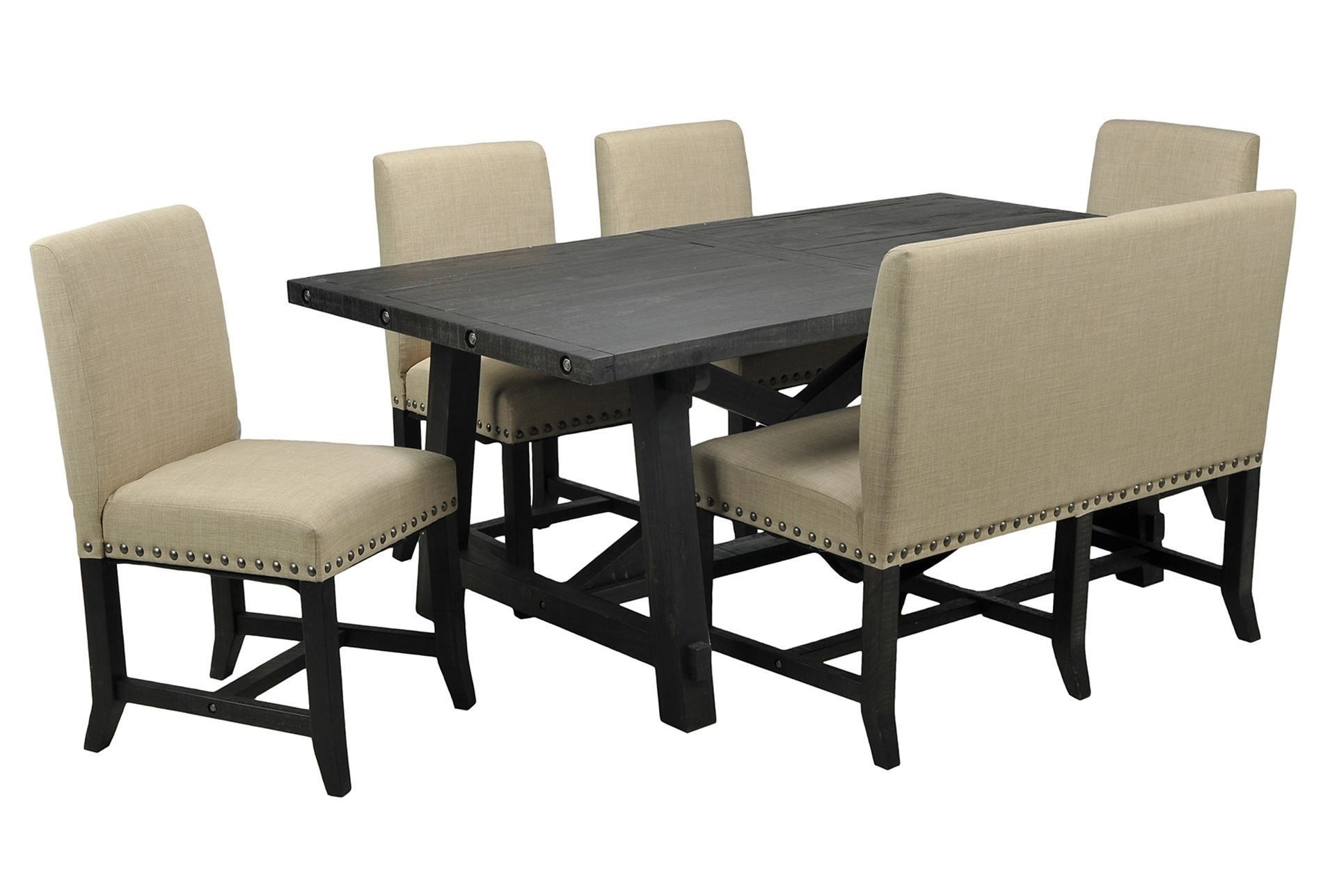 Jaxon 6 Piece Rectangle Dining Set W/bench & Uph Chairs | Home Decor Throughout Recent Jaxon Grey 6 Piece Rectangle Extension Dining Sets With Bench & Uph Chairs (Photo 5 of 20)