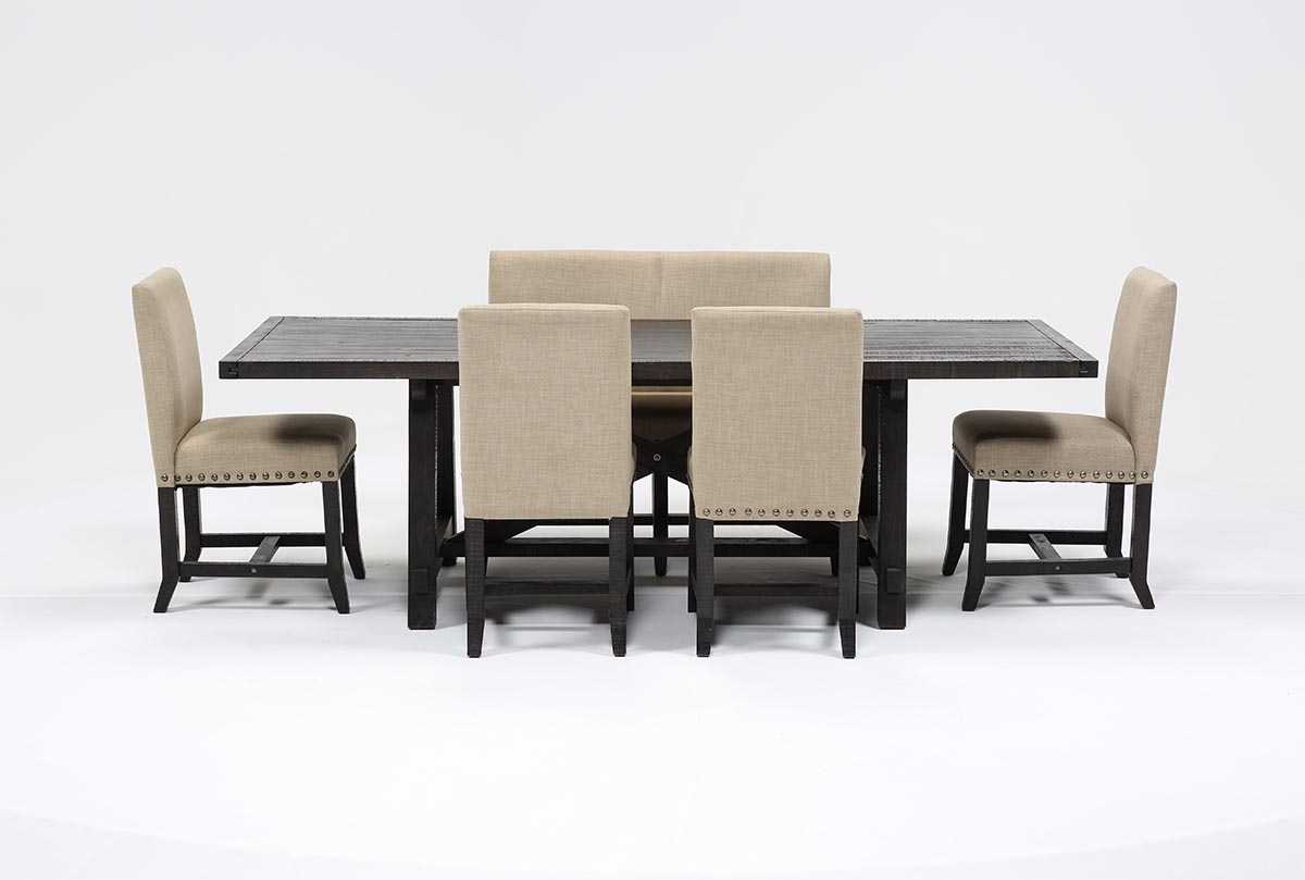 Jaxon 6 Piece Rectangle Dining Set W/bench & Uph Chairs | Living Spaces Pertaining To Most Recent Caden 6 Piece Rectangle Dining Sets (Photo 4 of 20)