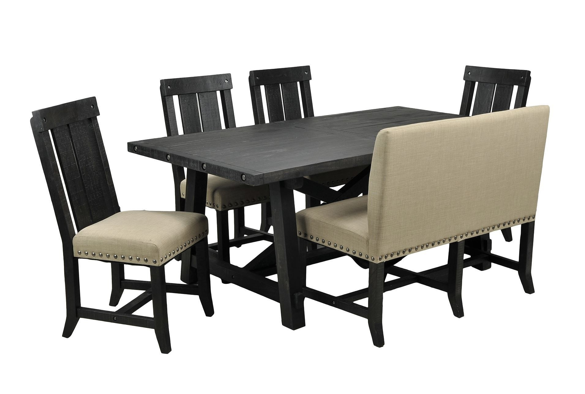 Jaxon 6 Piece Rectangle Dining Set W/bench & Wood Chairs, Café For Most Popular Jaxon 6 Piece Rectangle Dining Sets With Bench & Wood Chairs (Image 12 of 20)