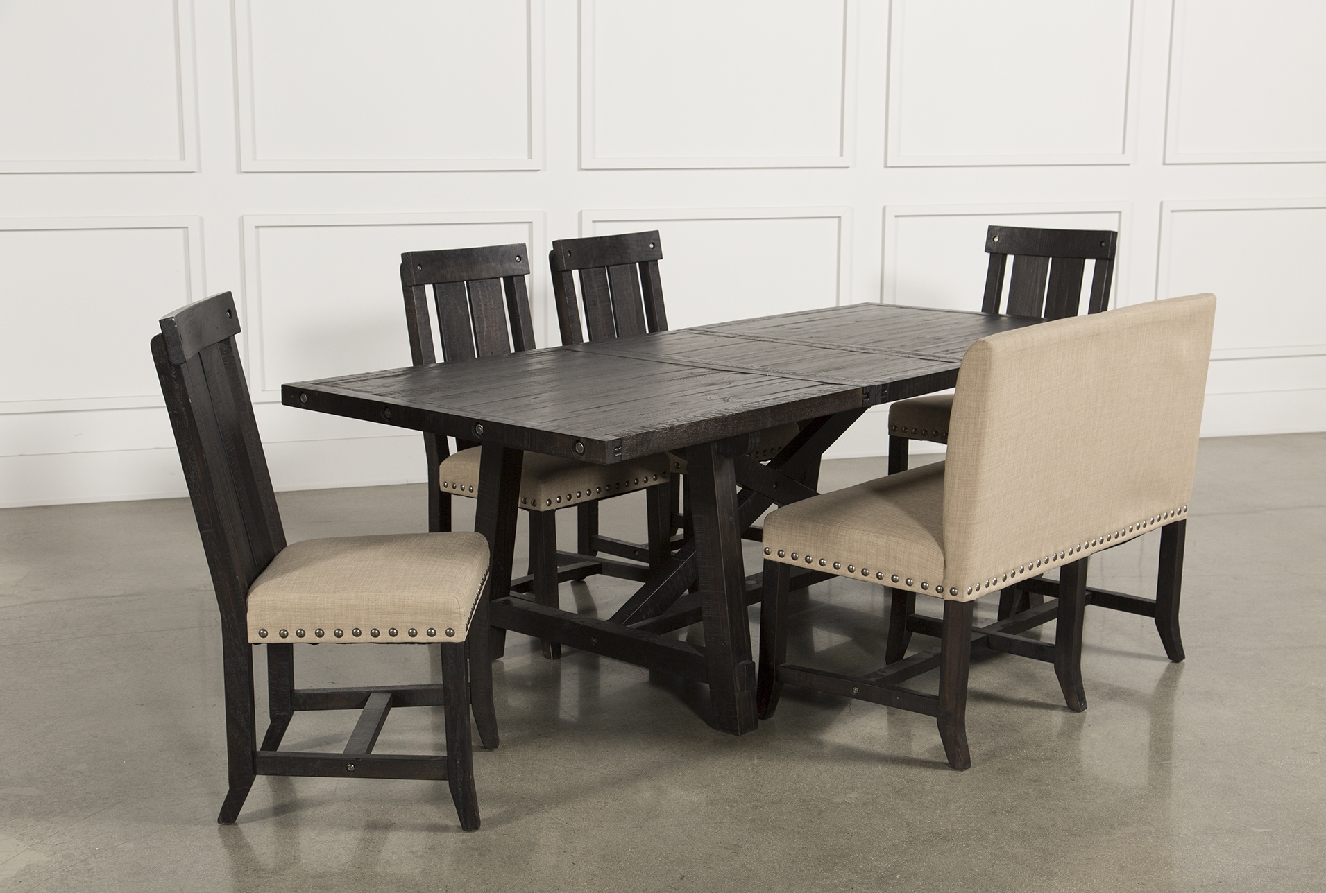 Jaxon 6 Piece Rectangle Dining Set W/bench & Wood Chairs | Products Inside Most Current Partridge 6 Piece Dining Sets (Image 6 of 20)
