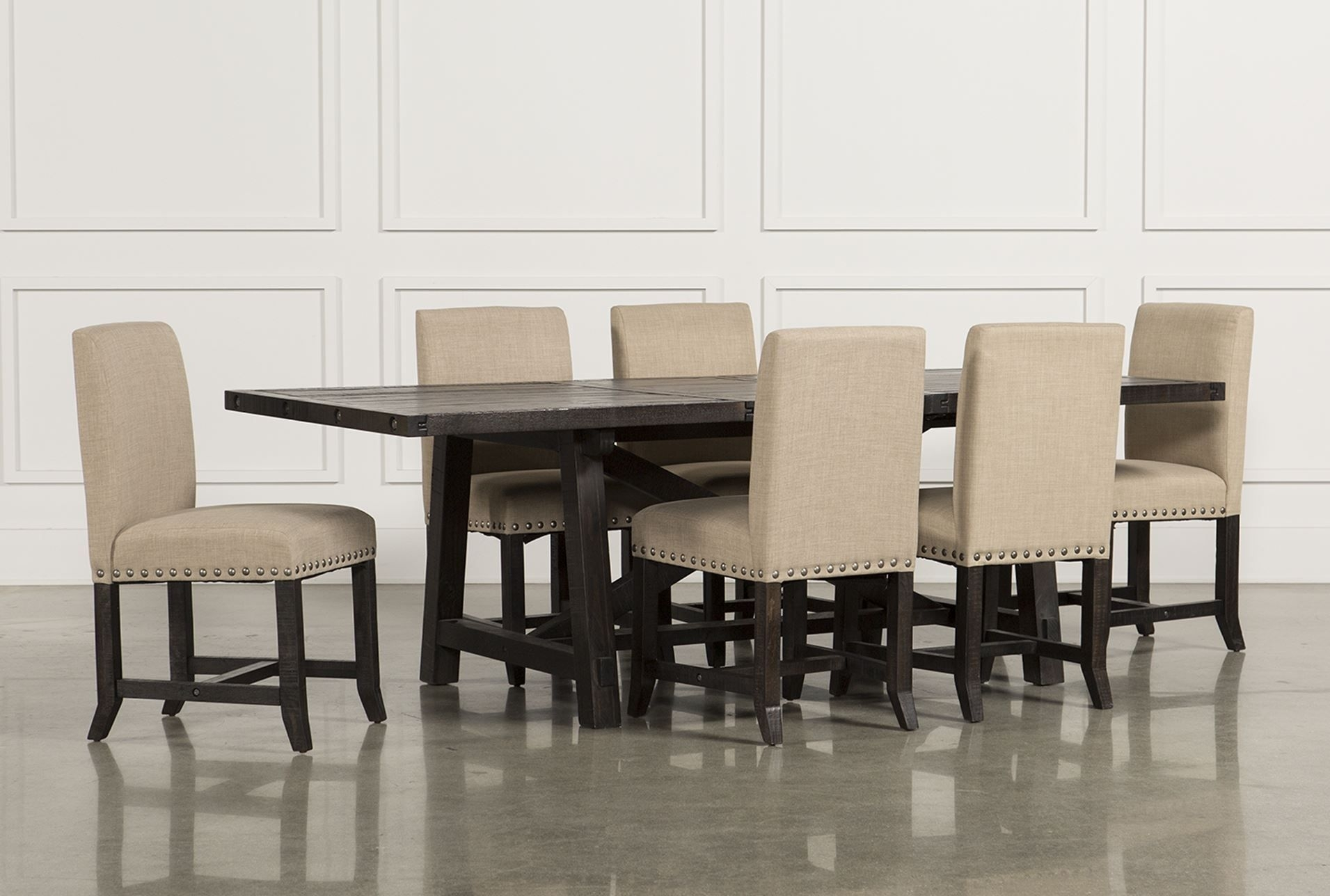 Jaxon 7 Piece Rectangle Dining Set W/upholstered Chairs | For The For Recent Combs 7 Piece Dining Sets With Mindy Slipcovered Chairs (View 4 of 20)