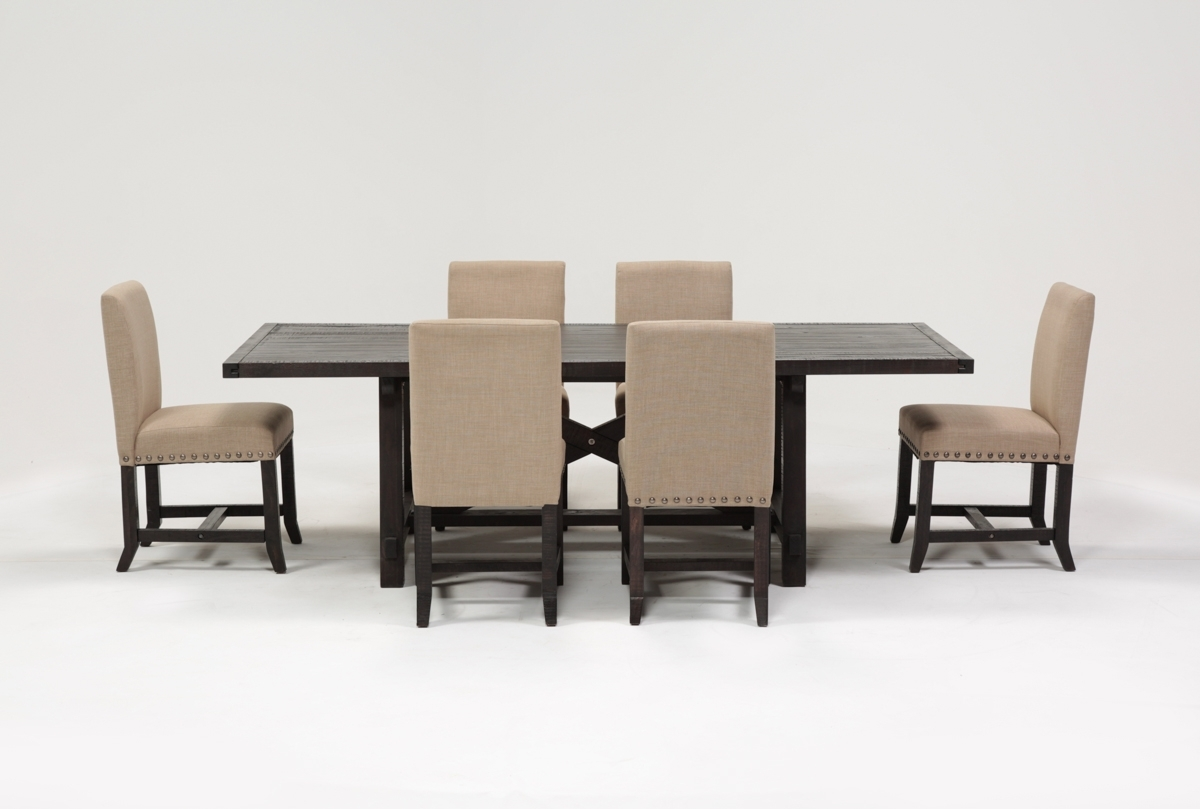 Jaxon 7 Piece Rectangle Dining Set W/upholstered Chairs | Living Spaces With Newest Jaxon 5 Piece Round Dining Sets With Upholstered Chairs (Image 12 of 20)