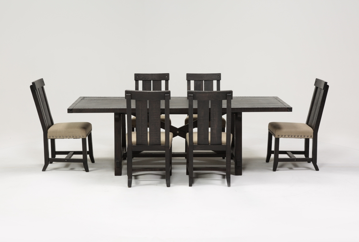 Jaxon 7 Piece Rectangle Dining Set W/wood Chairs | Living Spaces For Most Current Jaxon 6 Piece Rectangle Dining Sets With Bench & Uph Chairs (Image 13 of 20)