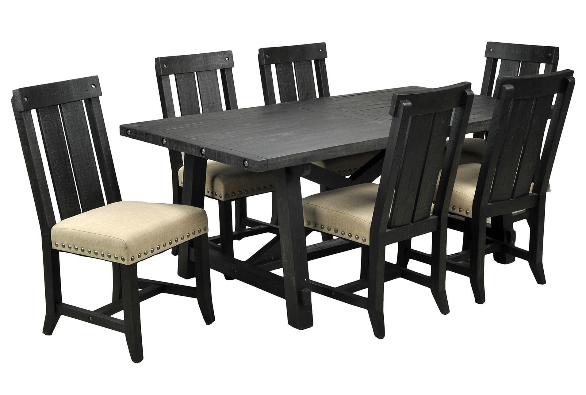 Jaxon 7 Piece Rectangle Dining Set W/wood Chairs | Sespe 3 General With Most Up To Date Jaxon 6 Piece Rectangle Dining Sets With Bench & Wood Chairs (View 4 of 20)
