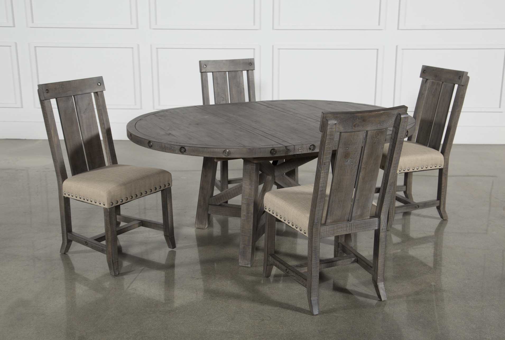 Jaxon Grey 5 Piece Round Extension Dining Set W/wood Chairs | Dining Inside Recent Jaxon 5 Piece Extension Round Dining Sets With Wood Chairs (Image 10 of 20)