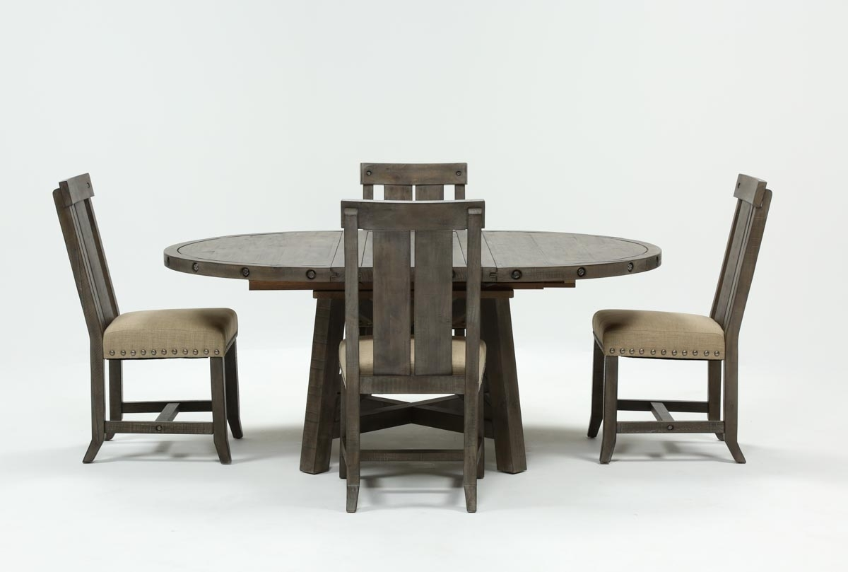 Jaxon Grey 5 Piece Round Extension Dining Set W/wood Chairs | Living Pertaining To Most Recent Jaxon Round Extension Dining Tables (Image 12 of 20)