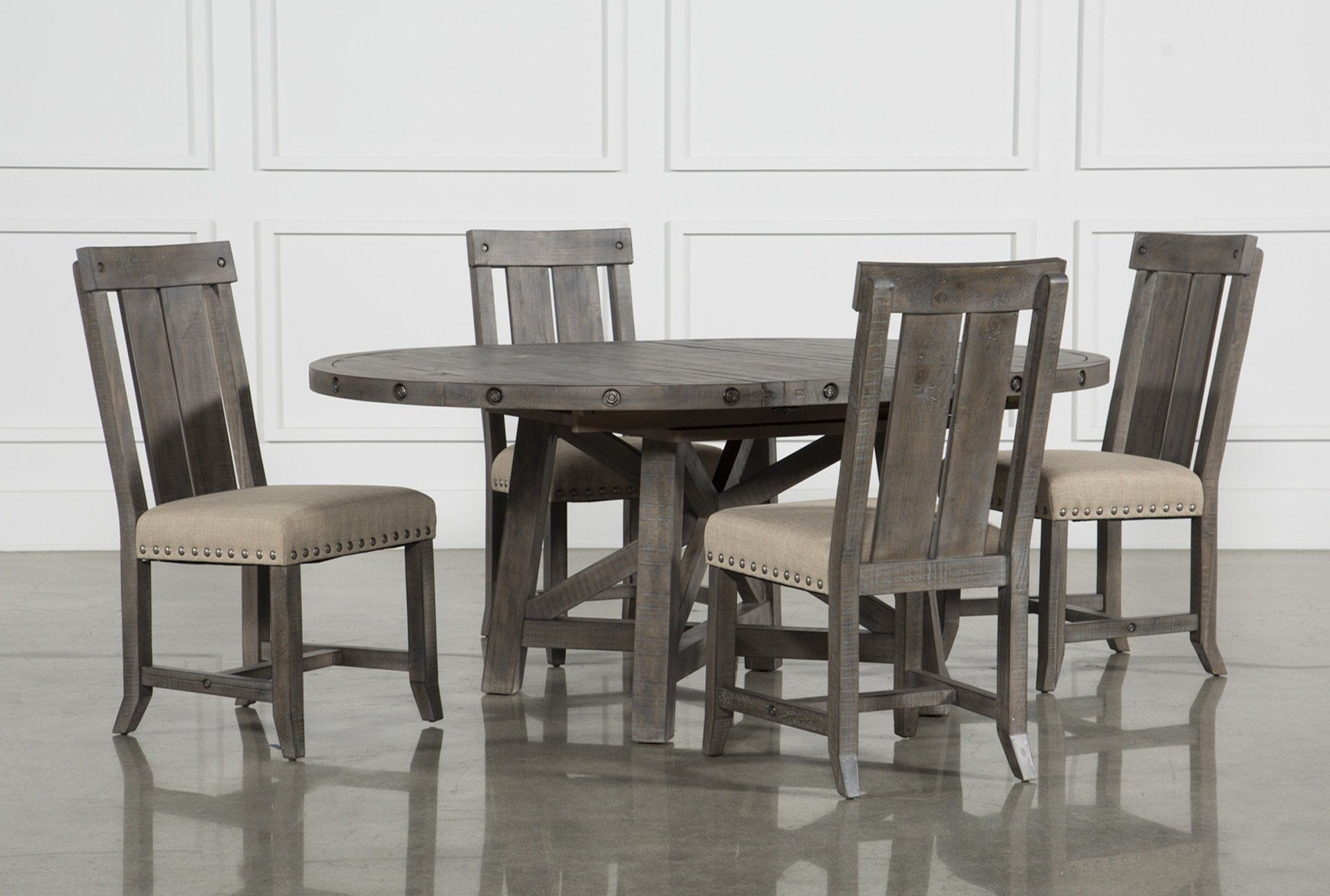 Jaxon Grey 5 Piece Round Extension Dining Set W/wood Chairs Within Best And Newest Jameson Grey 5 Piece Counter Sets (Image 17 of 20)