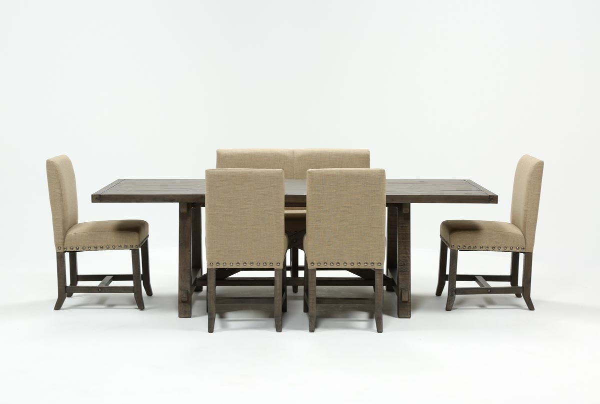Jaxon Grey 6 Piece Rectangle Extension Dining Set W/bench & Uph Pertaining To 2018 Norwood 9 Piece Rectangular Extension Dining Sets With Uph Side Chairs (Image 7 of 20)