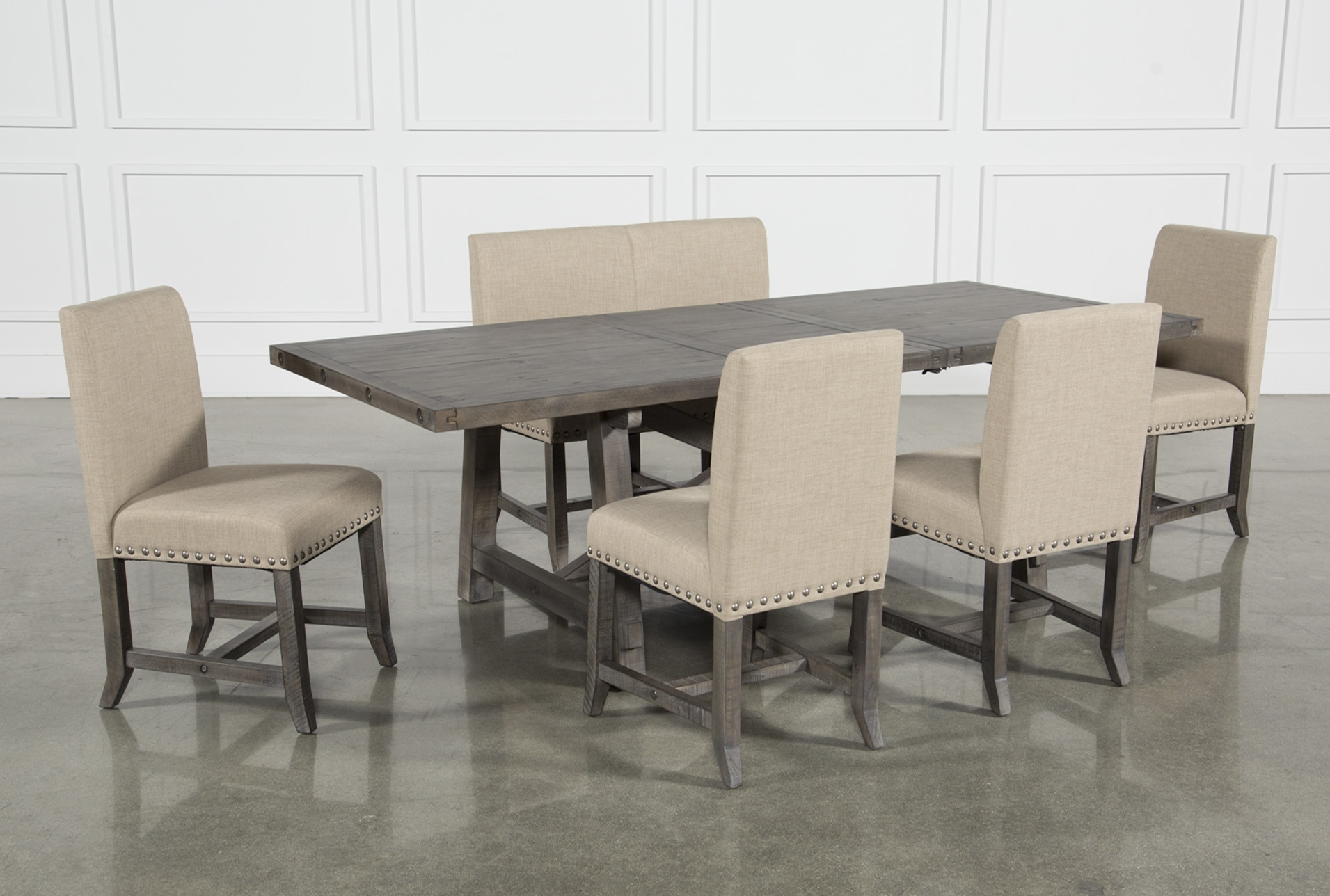 Jaxon Grey 6 Piece Rectangle Extension Dining Set W/bench & Uph With 2017 Jaxon 6 Piece Rectangle Dining Sets With Bench & Uph Chairs (Image 15 of 20)
