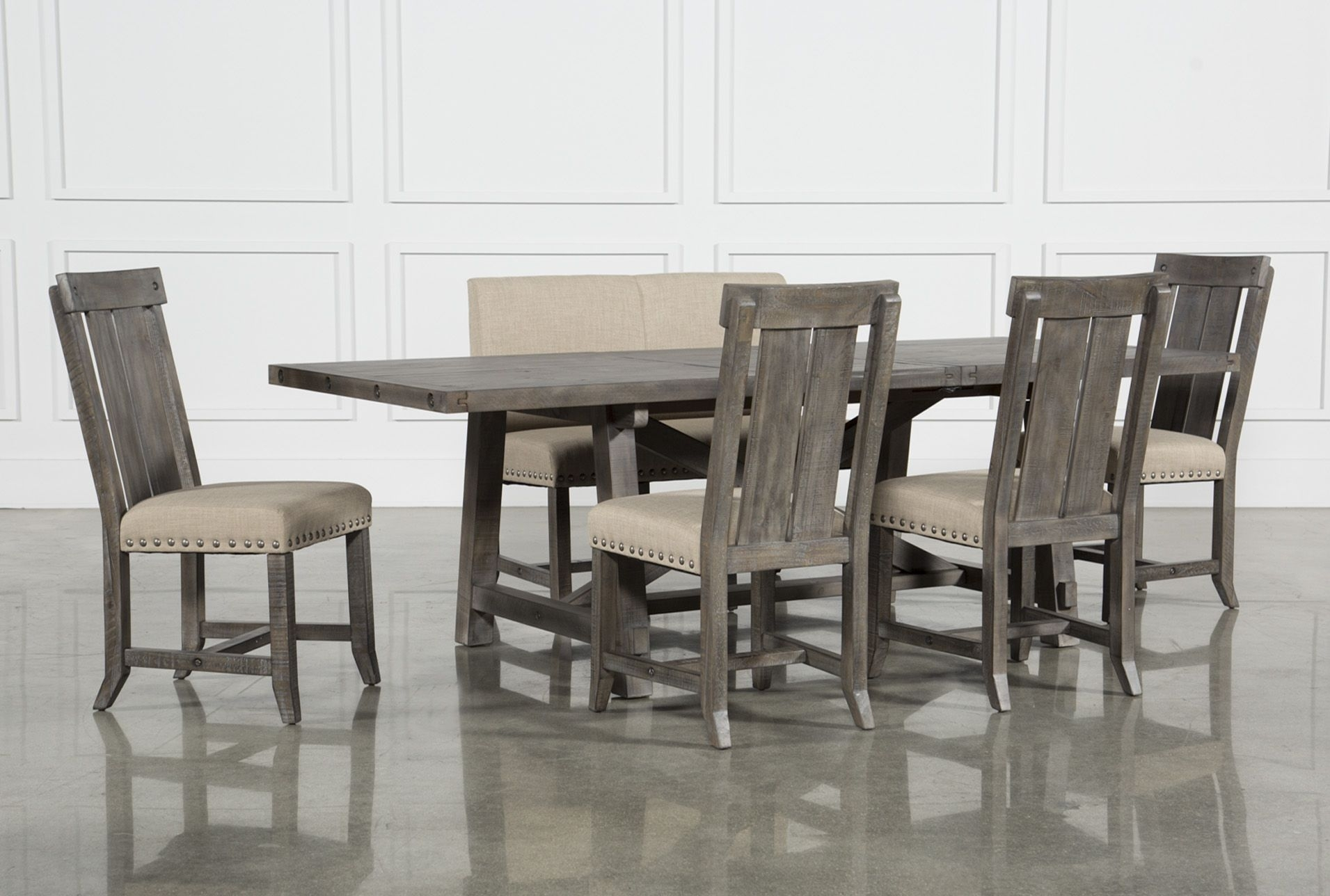 Jaxon Grey 6 Piece Rectangle Extension Dining Set W/bench & Wood Within Newest Jaxon Grey 5 Piece Extension Counter Sets With Fabric Stools (Image 15 of 20)