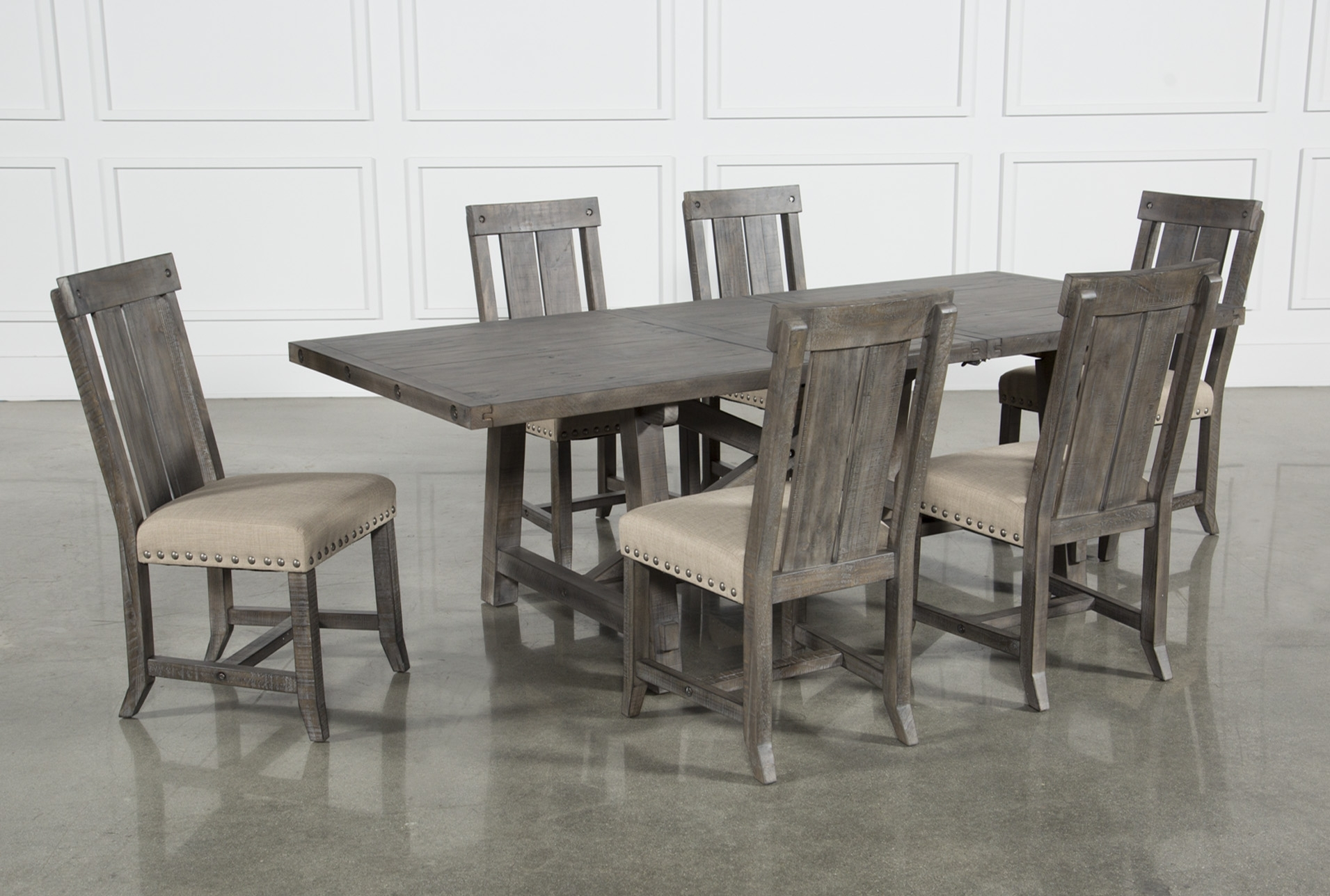 Jaxon Grey 7 Piece Rectangle Extension Dining Set W/wood Chairs Throughout Most Popular Jaxon Grey 7 Piece Rectangle Extension Dining Sets With Uph Chairs (Image 11 of 20)