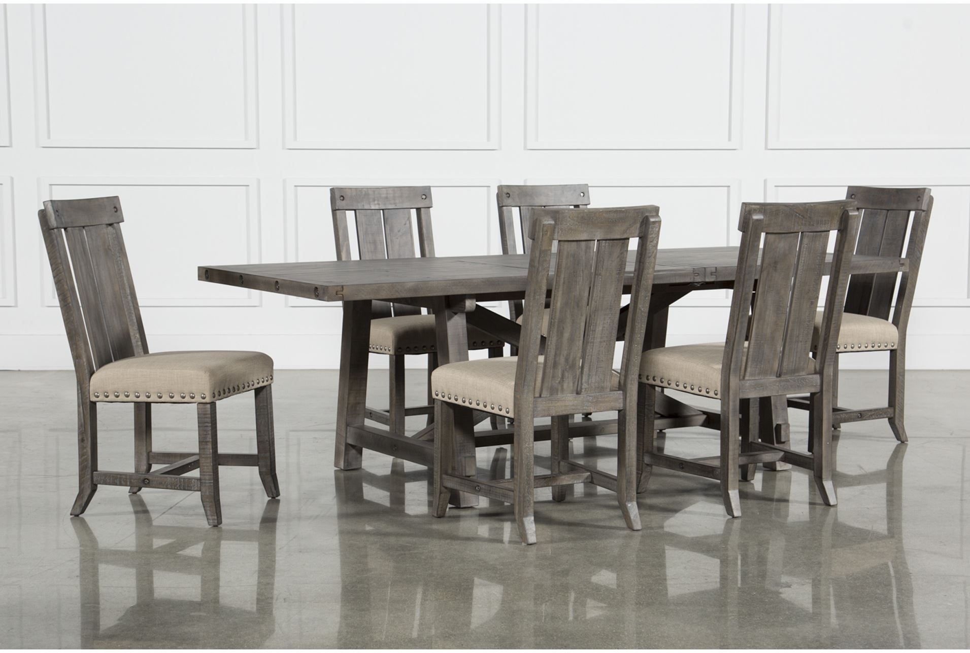 Jaxon Grey 7 Piece Rectangle Extension Dining Set W/wood Chairs With Most Up To Date Partridge 7 Piece Dining Sets (Image 12 of 20)