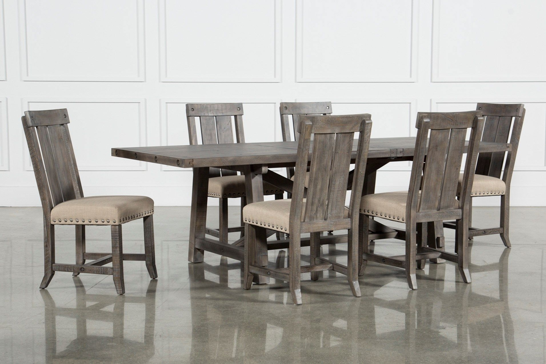 Jaxon Grey 7 Piece Rectangle Extension Dining Set W/wood Chairs With Regard To 2018 Chandler 7 Piece Extension Dining Sets With Fabric Side Chairs (View 5 of 20)