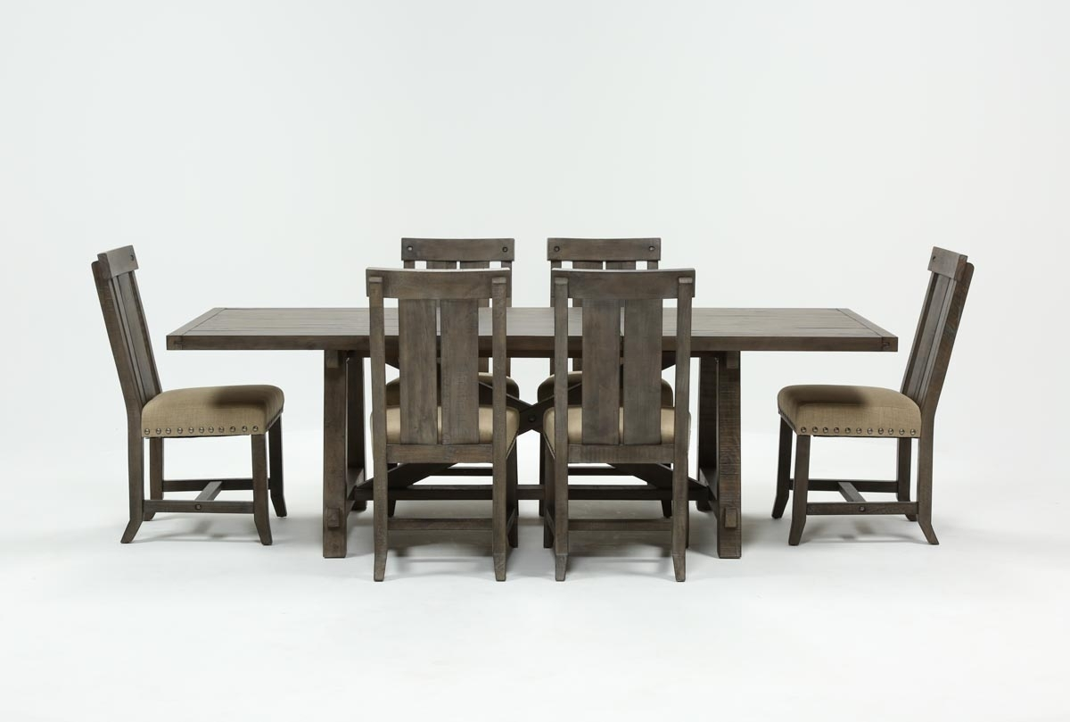 Jaxon Grey 7 Piece Rectangle Extension Dining Set W/wood Chairs Within 2018 Jaxon 7 Piece Rectangle Dining Sets With Wood Chairs (Image 10 of 20)