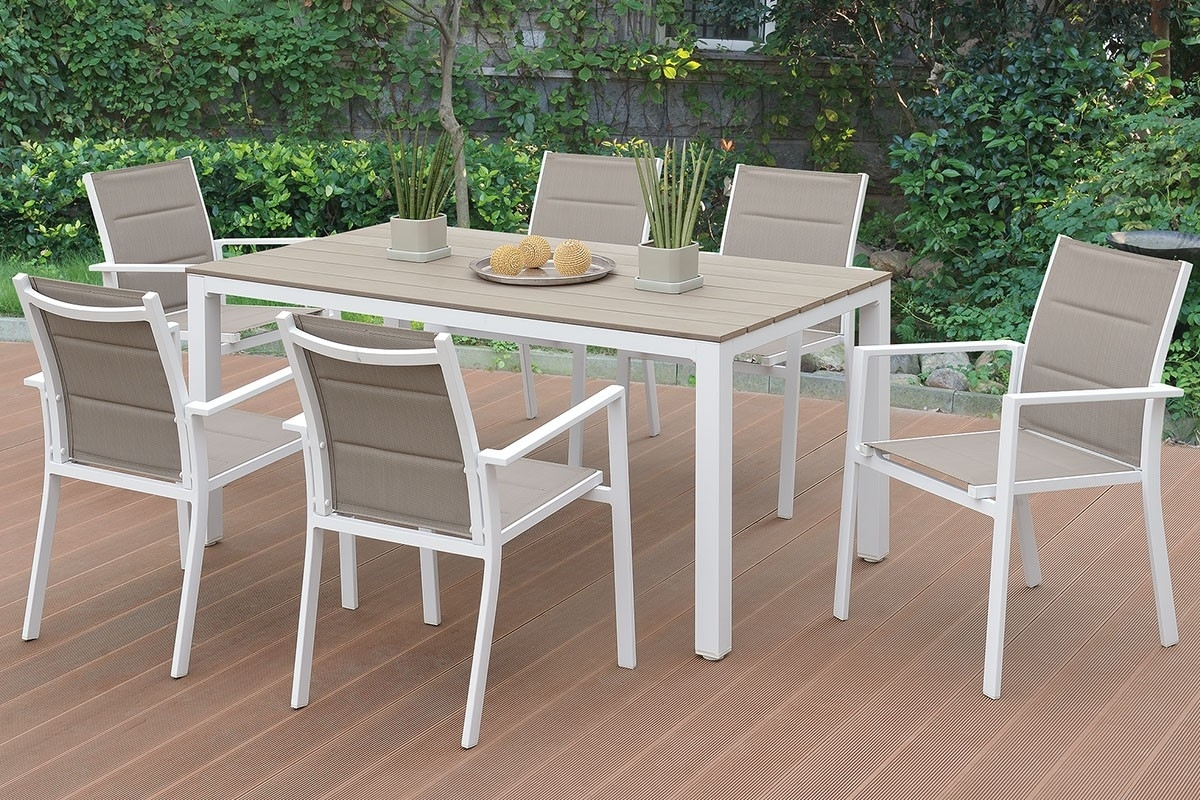 Jaxon Outdoor 7 Piece Dining Table Set For Best And Newest Jaxon 7 Piece Rectangle Dining Sets With Wood Chairs (Photo 11 of 20)