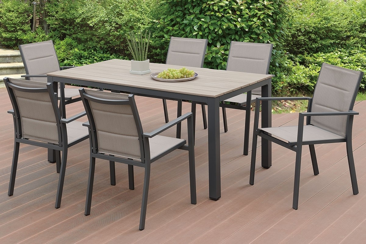 Jaxon Outdoor 7 Piece Dining Table Set Within Most Up To Date Jaxon 6 Piece Rectangle Dining Sets With Bench & Wood Chairs (Image 14 of 20)