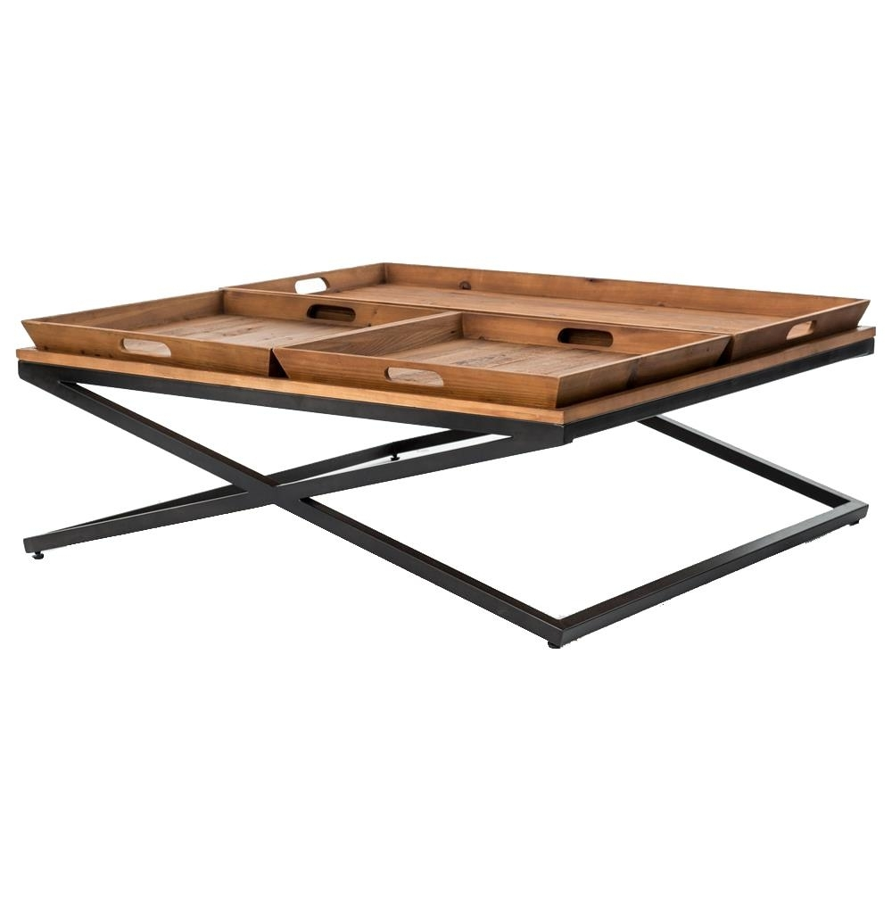 Jaxon Trio Tray Top Wood Iron Industrial Square Coffee Table Intended For 2018 Jaxon 6 Piece Rectangle Dining Sets With Bench & Uph Chairs (Image 17 of 20)