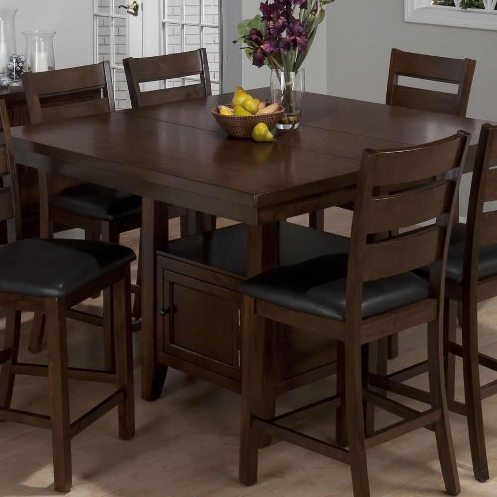 Jofran 337 54 Taylor 7 Piece Butterfly Leaf Counter Height Table Set With Regard To Most Up To Date Ina Matte Black 60 Inch Counter Tables With Frosted Glass (Photo 20 of 20)