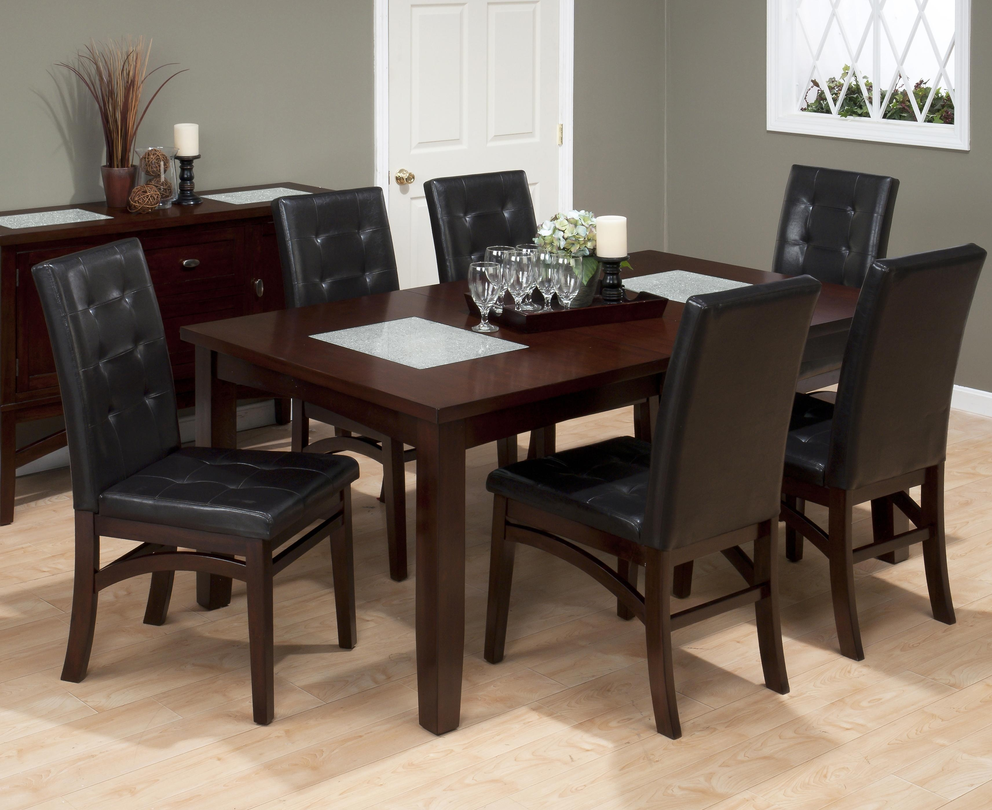 Jofran Chadwick Espresso 7 Piece Dining Set With Tufted Parson Chair Pertaining To 2018 Lindy Espresso Rectangle Dining Tables (Image 9 of 20)