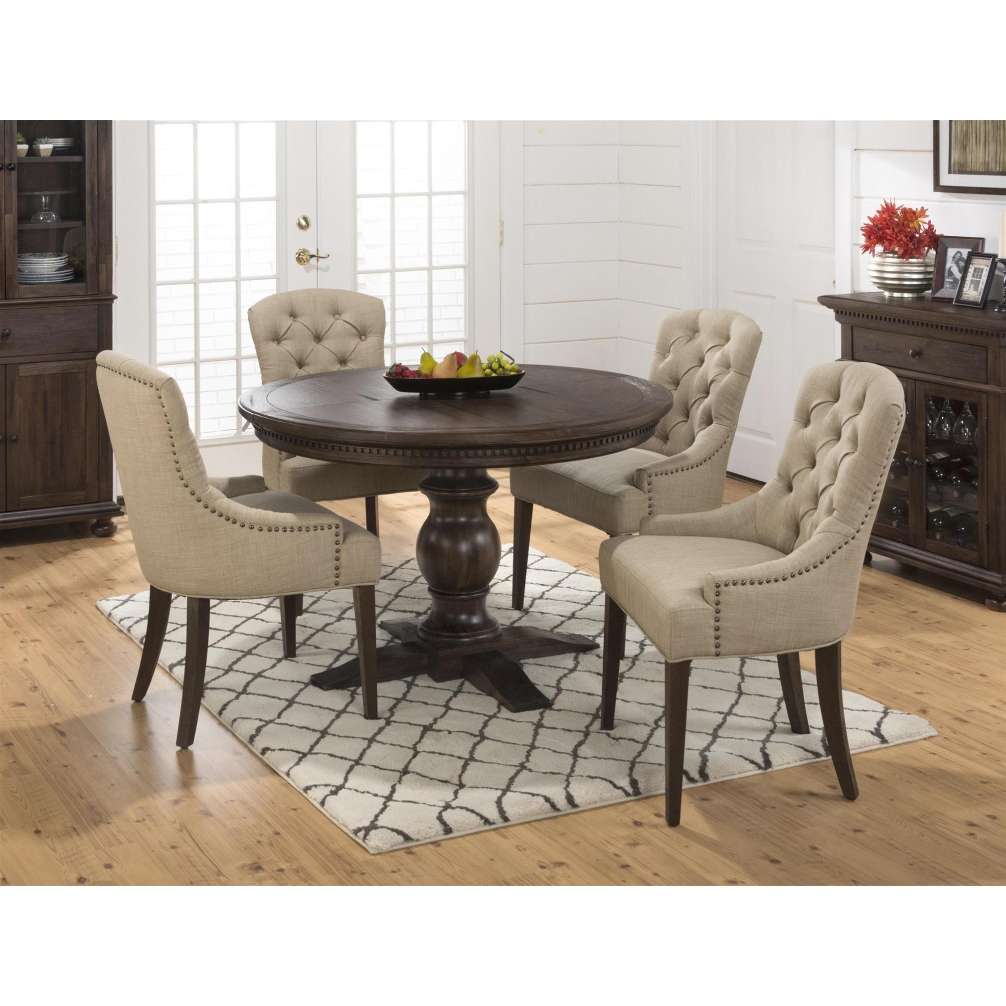 Jofran Geneva Hills 5Pc Round Dining Table Set With Tufted Chairs For Best And Newest Craftsman 5 Piece Round Dining Sets With Uph Side Chairs (Image 12 of 20)