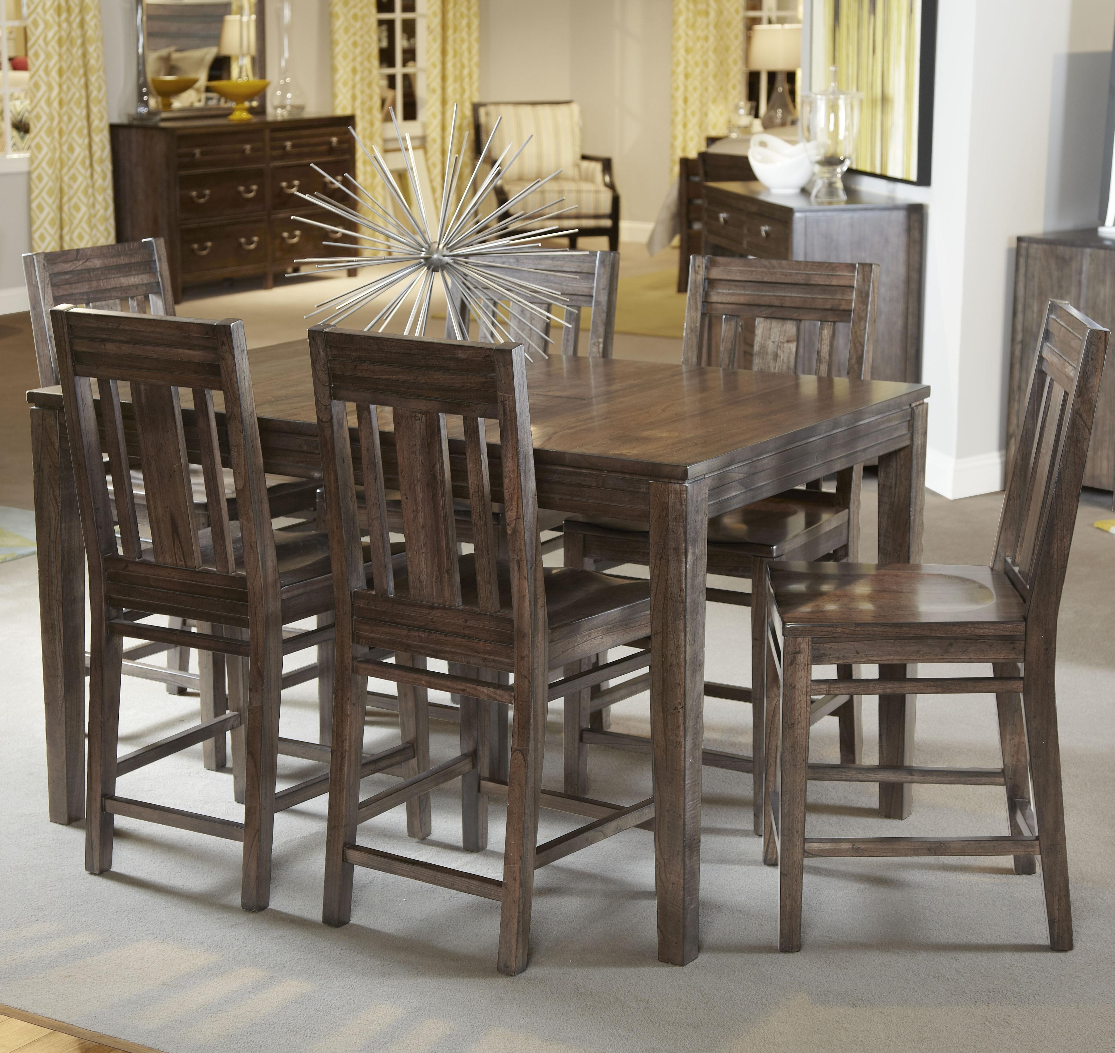 Kincaid Furniture Montreat Seven Piece Casual Counter Height Dining With Regard To Recent Craftsman 7 Piece Rectangle Extension Dining Sets With Side Chairs (Image 15 of 20)