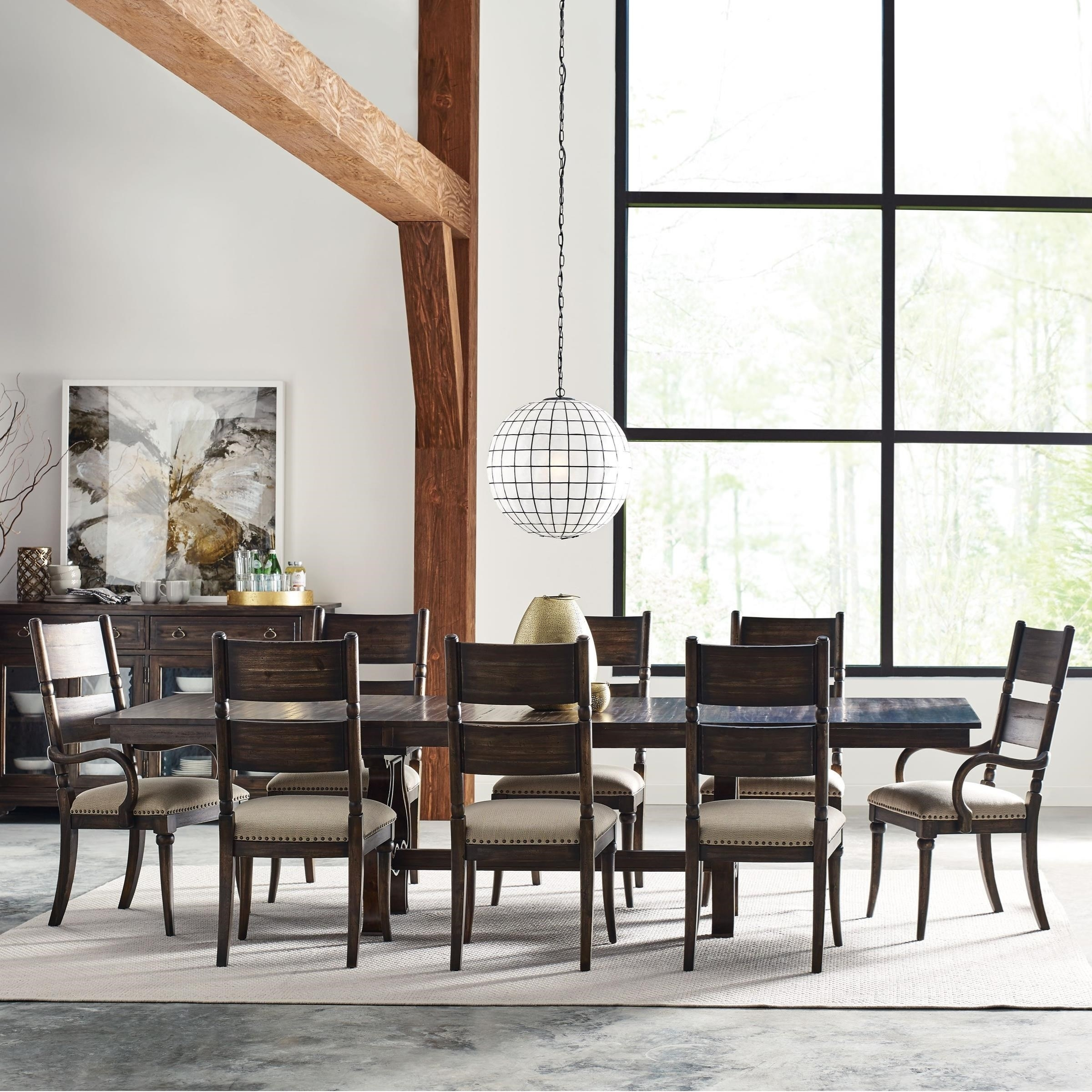 Kincaid Furniture Wildfire Nine Piece Dining Set With Extendable Throughout 2017 Craftsman 7 Piece Rectangle Extension Dining Sets With Arm & Side Chairs (Image 12 of 20)