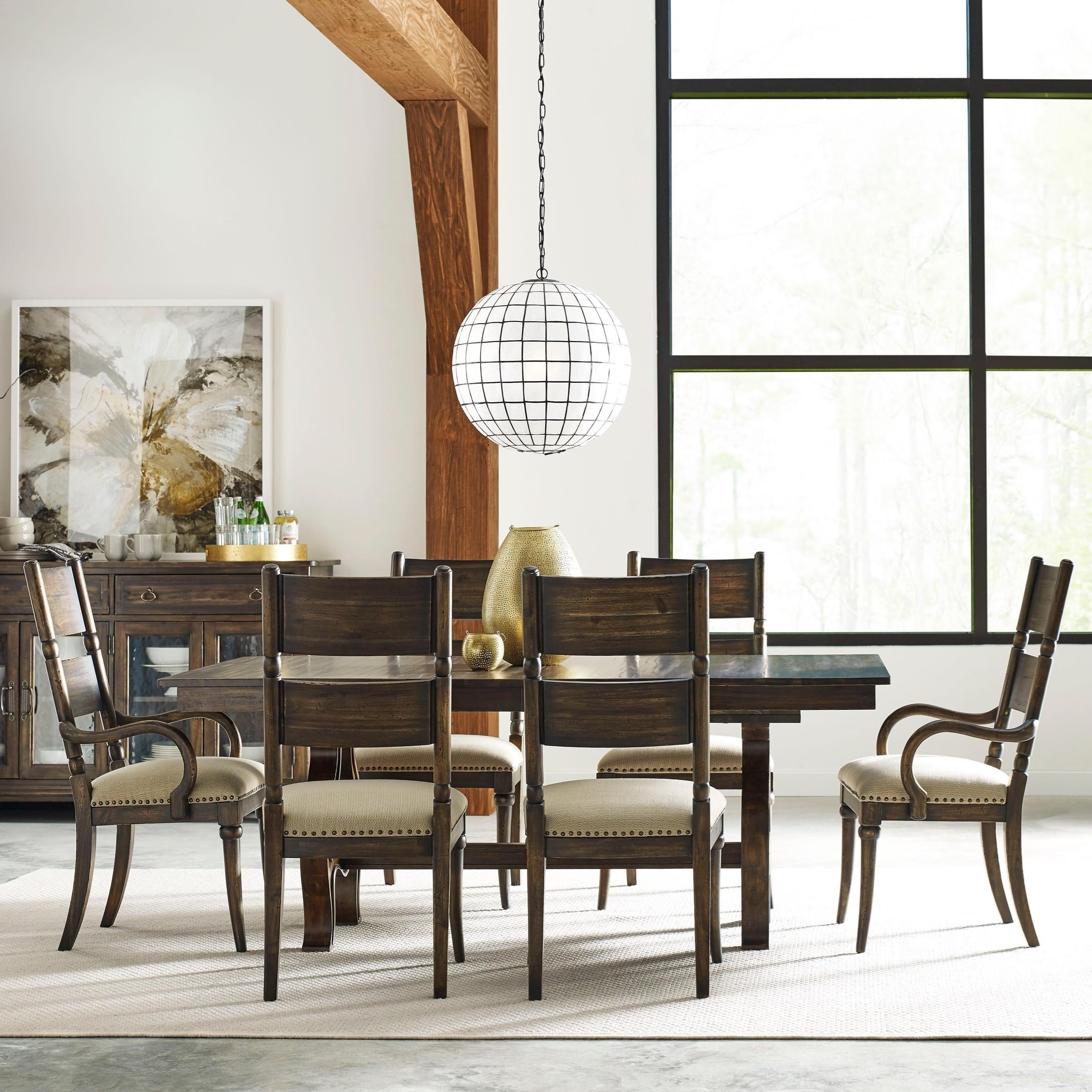 Kincaid Furniture Wildfire Seven Piece Dining Set With Extendable Pertaining To Most Recently Released Craftsman 7 Piece Rectangle Extension Dining Sets With Arm & Side Chairs (Image 13 of 20)