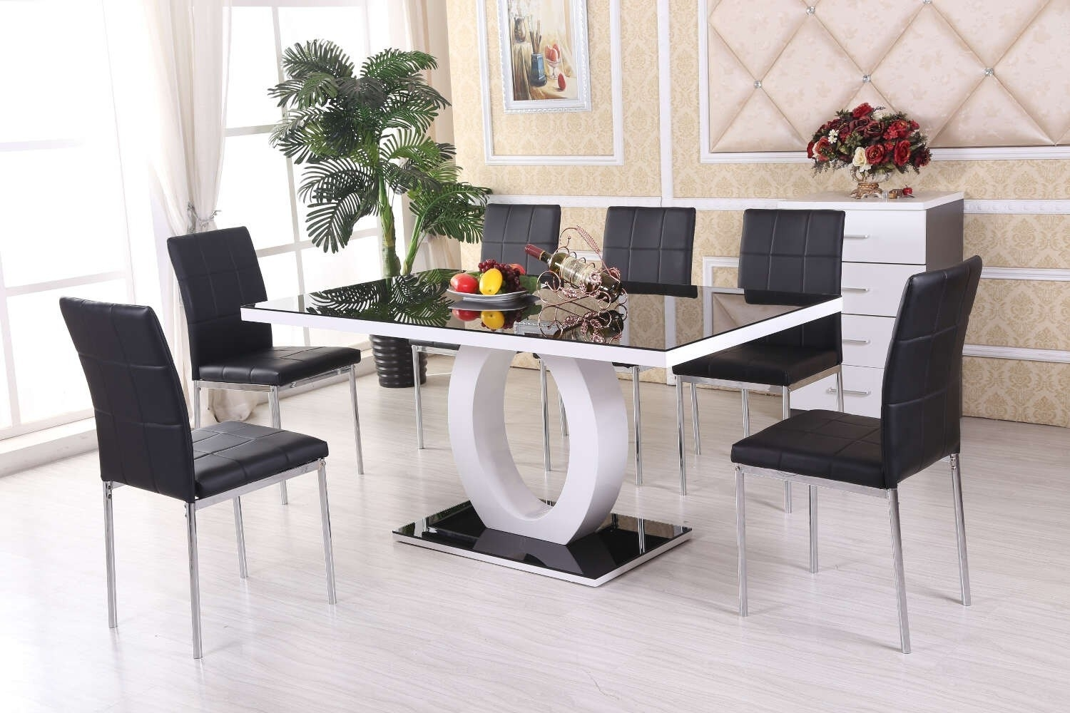 Kitchen Table 6 Chairs Set – Castrophotos In Latest Jaxon Grey 5 Piece Round Extension Dining Sets With Upholstered Chairs (View 6 of 20)