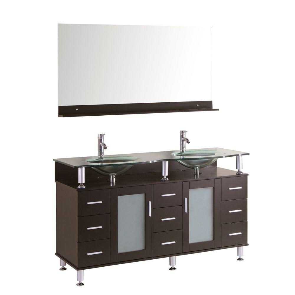 Kokols Cerviel 59 In. W X 21.6 In. D Double Vanity In Espresso With For Newest Rocco 9 Piece Extension Counter Sets (Photo 20 of 20)